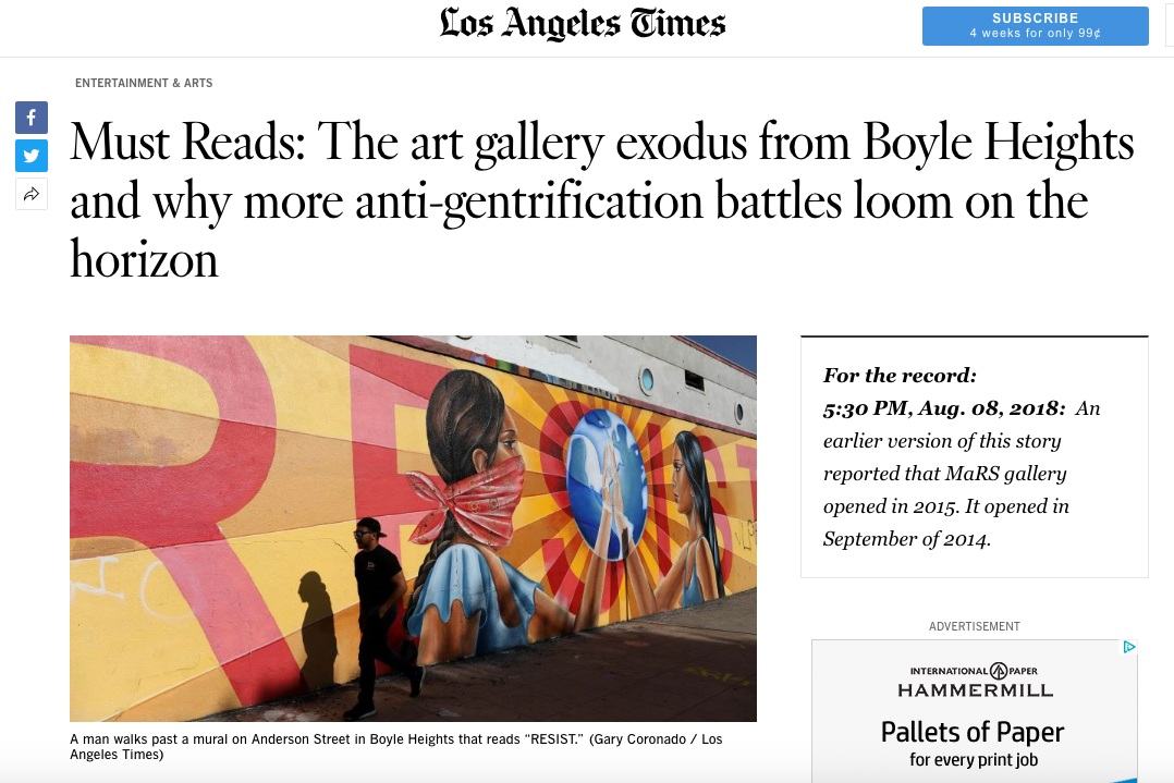 """""""The art gallery exodus from Boyle Heights,"""" LA Times"""