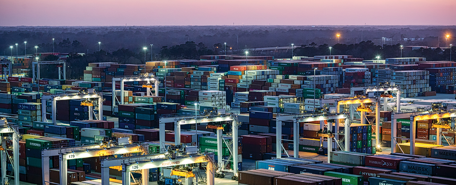 At 1,200 acres, the Port of Savannah's Garden City Terminal is the largest single-operator terminal in the U.S. With 151 rubber-tired gantry cranes and 30 ship-to-shore cranes, the GPA completes nearly 20,000 container moves per day to vessel, truck and rail. Find print quality images    here   . (Georgia Ports Authority / Stephen B. Morton)