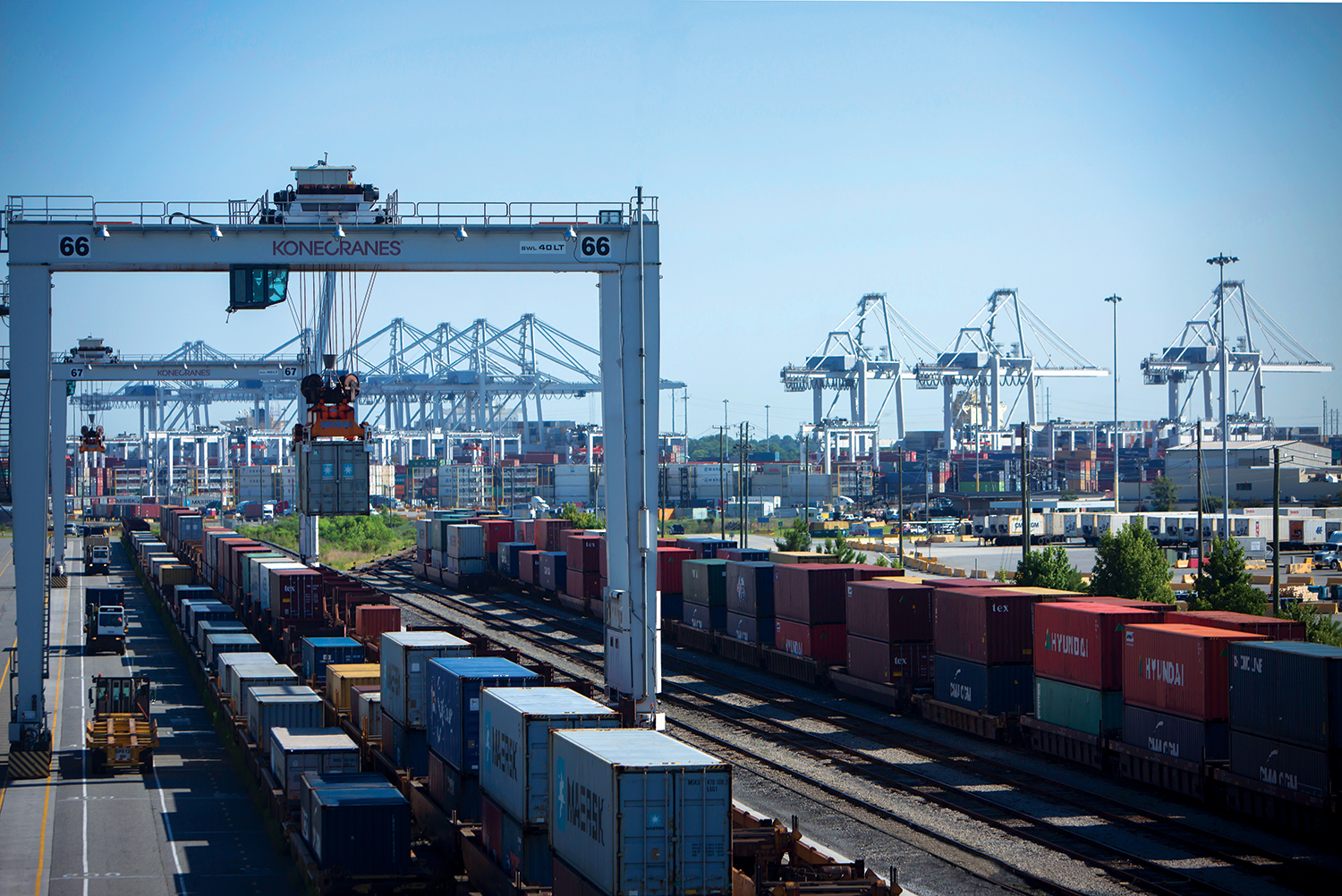 For the fiscal year through April, the Port of Savannah has achieved a 21 percent increase in intermodal cargo, handling 776,600 twenty-foot equivalent container units by rail since July 2018. Find print quality images    here   . (Georgia Ports Authority)