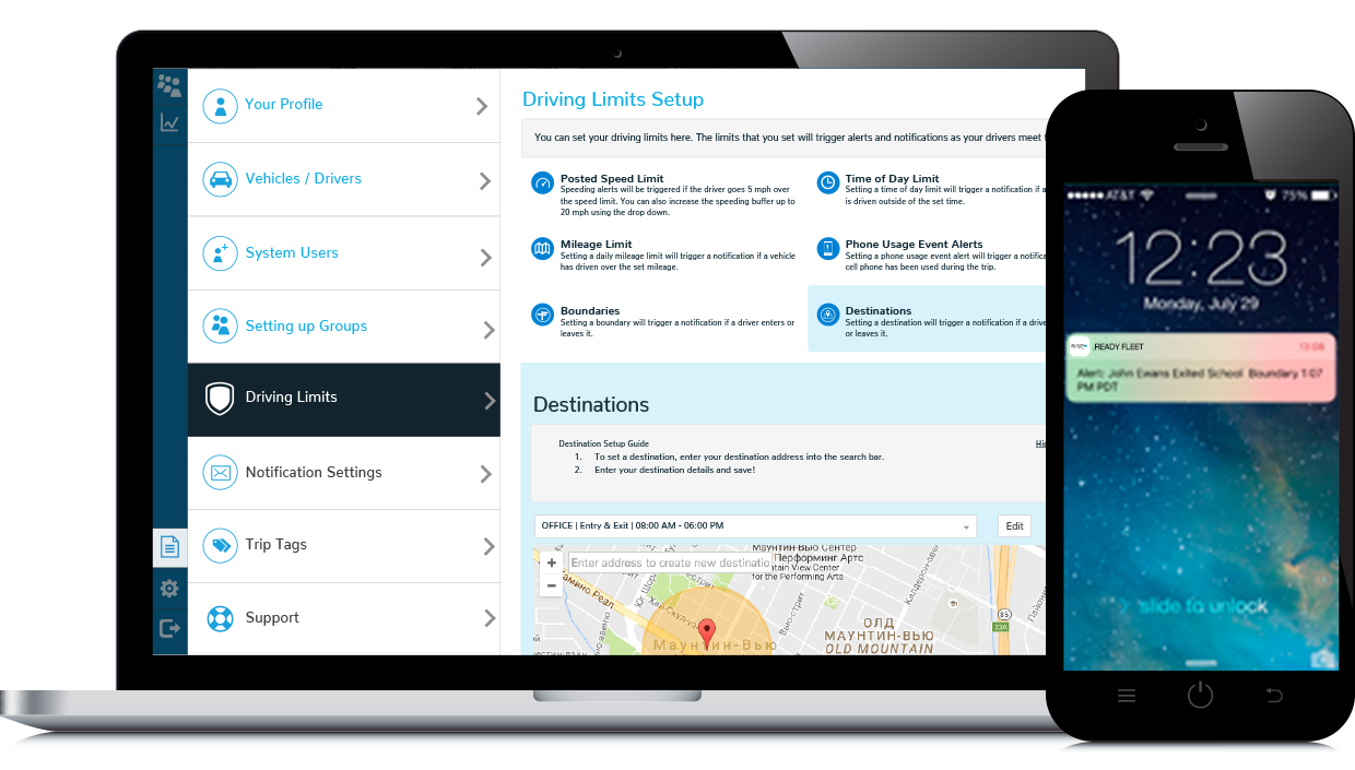 Custom Alerts & Notifications - Easily setup custom alerts and notifications for your fleet and stay up to date in real time.