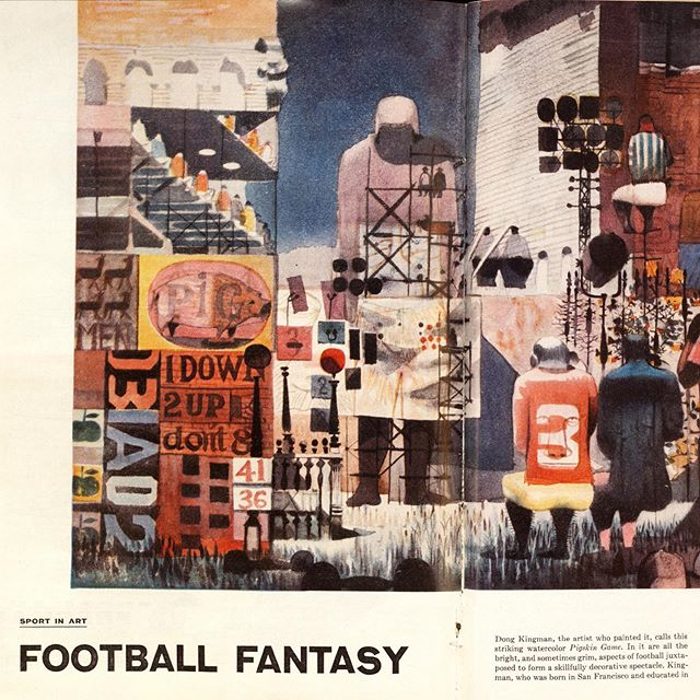 "Watercolor painting titled ""Pigskin Game"" by Chinese American artist #DongKingman (b. Oakland, CA). Published in #1957 #SportsIllustrated season preview. #footballfantasy #fantasyfootball #sportinart"