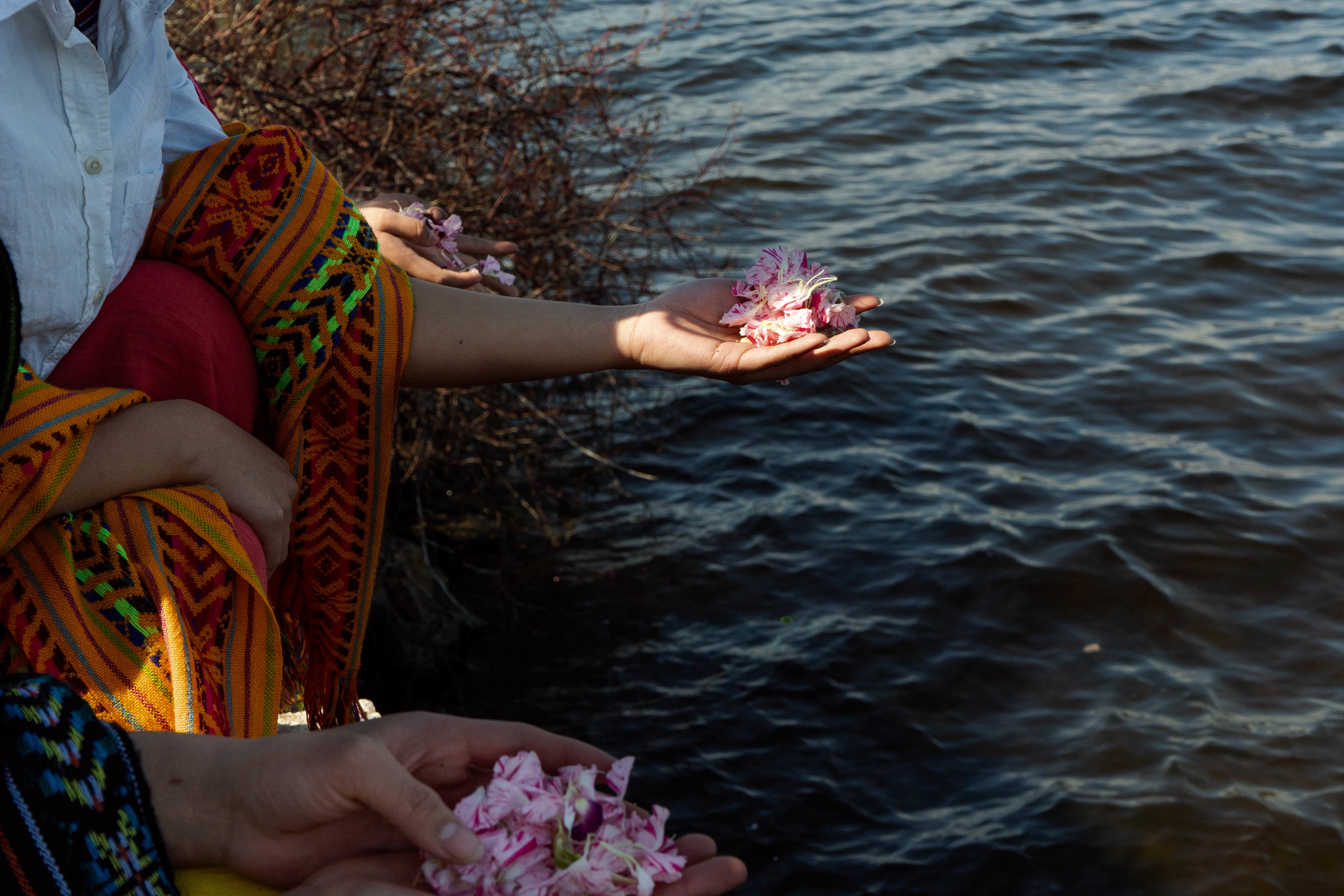Flower offerings to Lake Phalen during the water ritual.