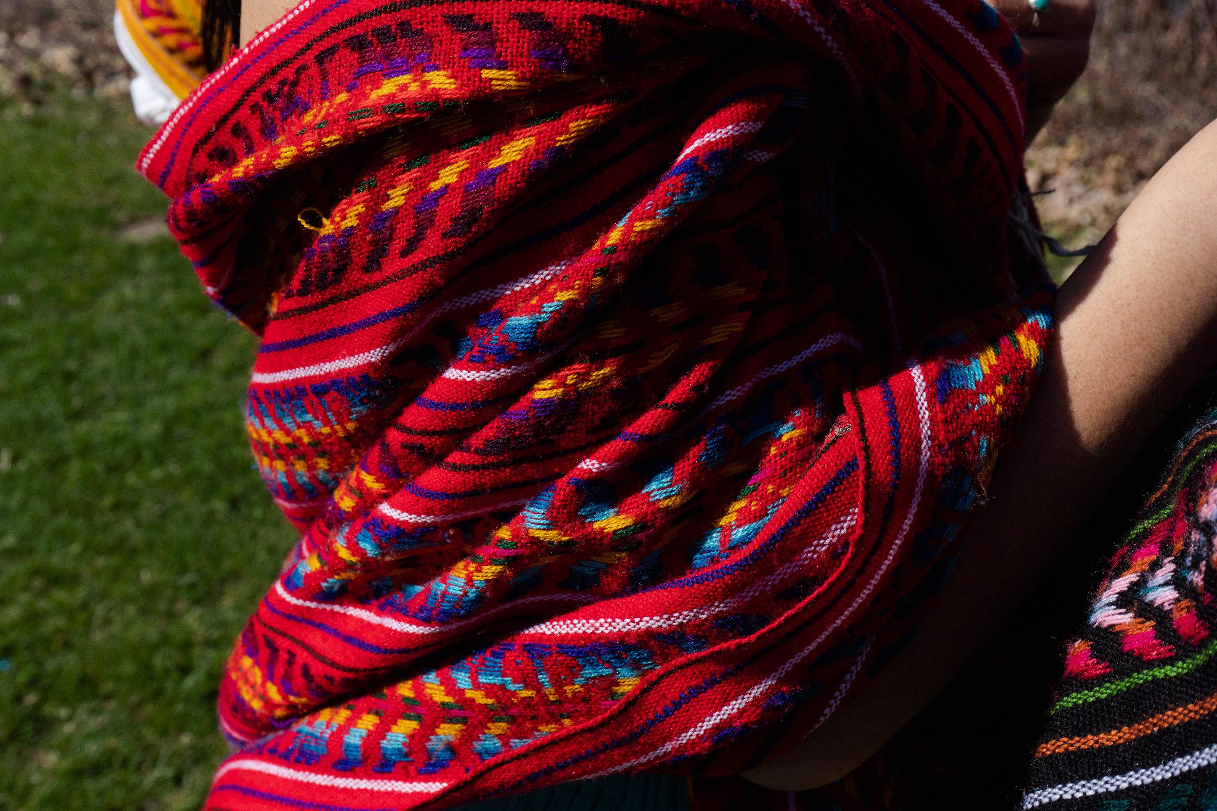 Traditional rebozo shawl worn by Reyna Day.