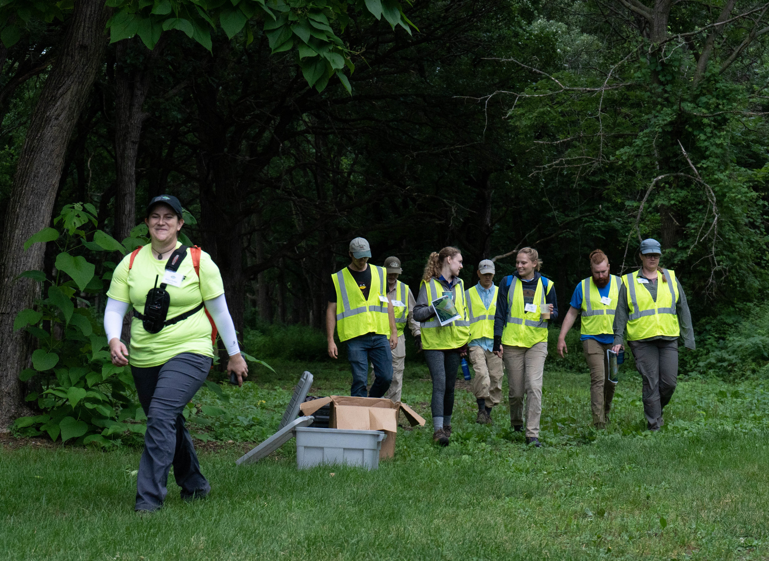 Volunteers head into Talahi Woods in St. Cloud to restore oak forest on the bank of the Mississippi River.  Iyana Esters   The Water Main