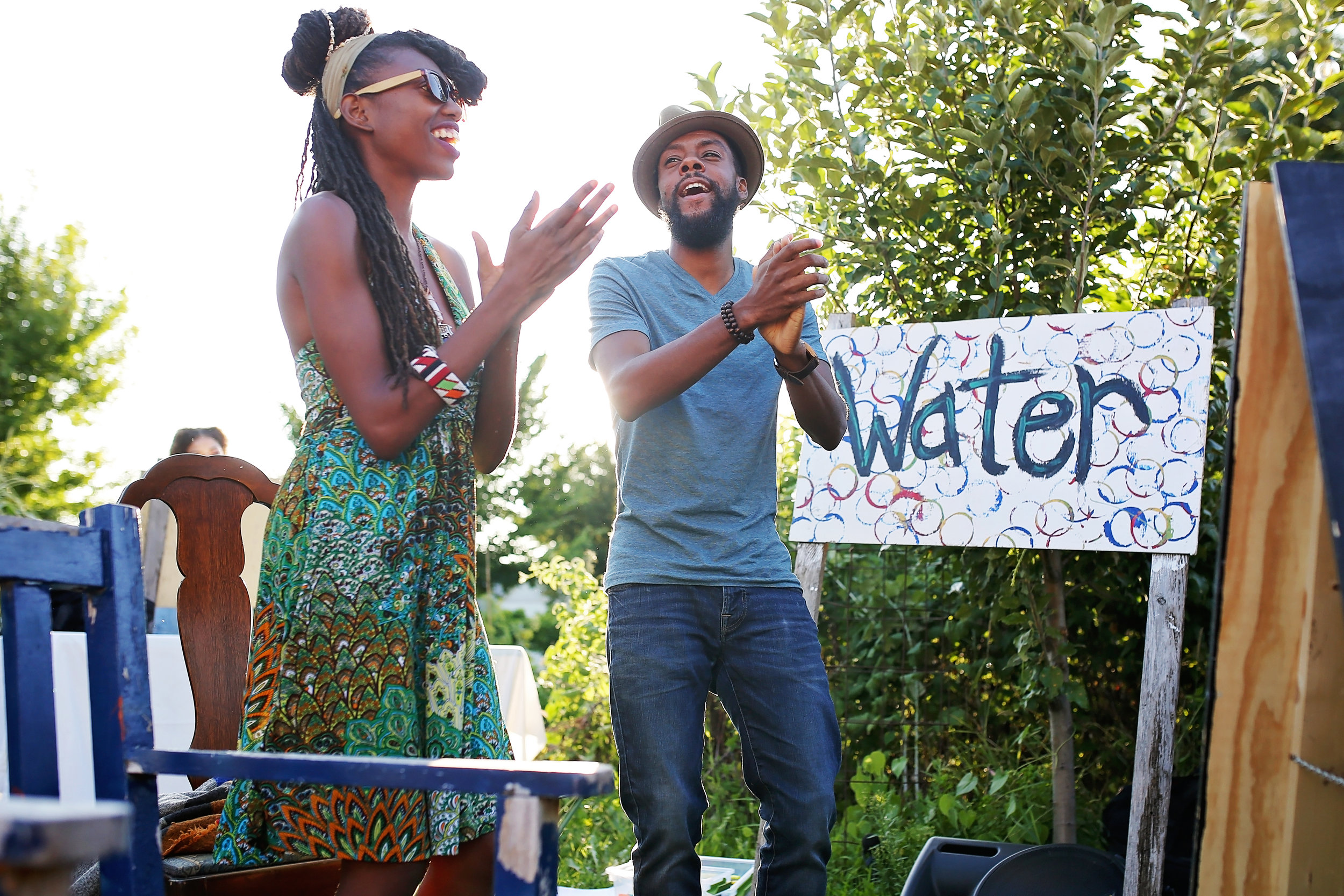 ShaVunda Brown and Joe Davis perform at Let the Water Speak on August 22, 2019. Photo by Katrina Hannamann with  Studio Laguna Photography