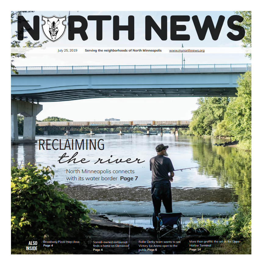 The cover of the July 25th edition of North News featuring stories about northsiders' relationships with the Missisippi River. Click on the image to read this issue.