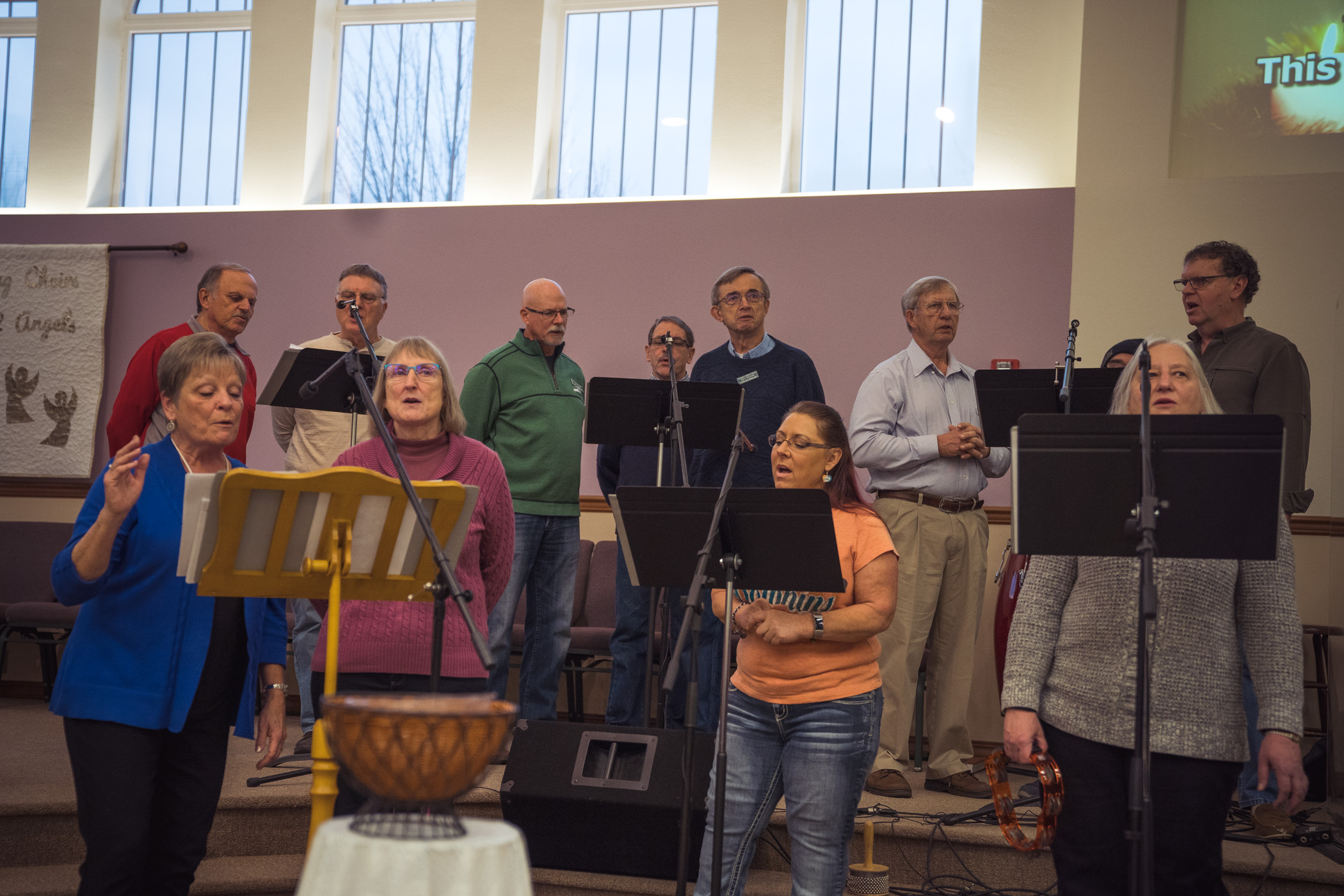 The worship team practices at Immanuel Lutheran Church in Centralia, WA
