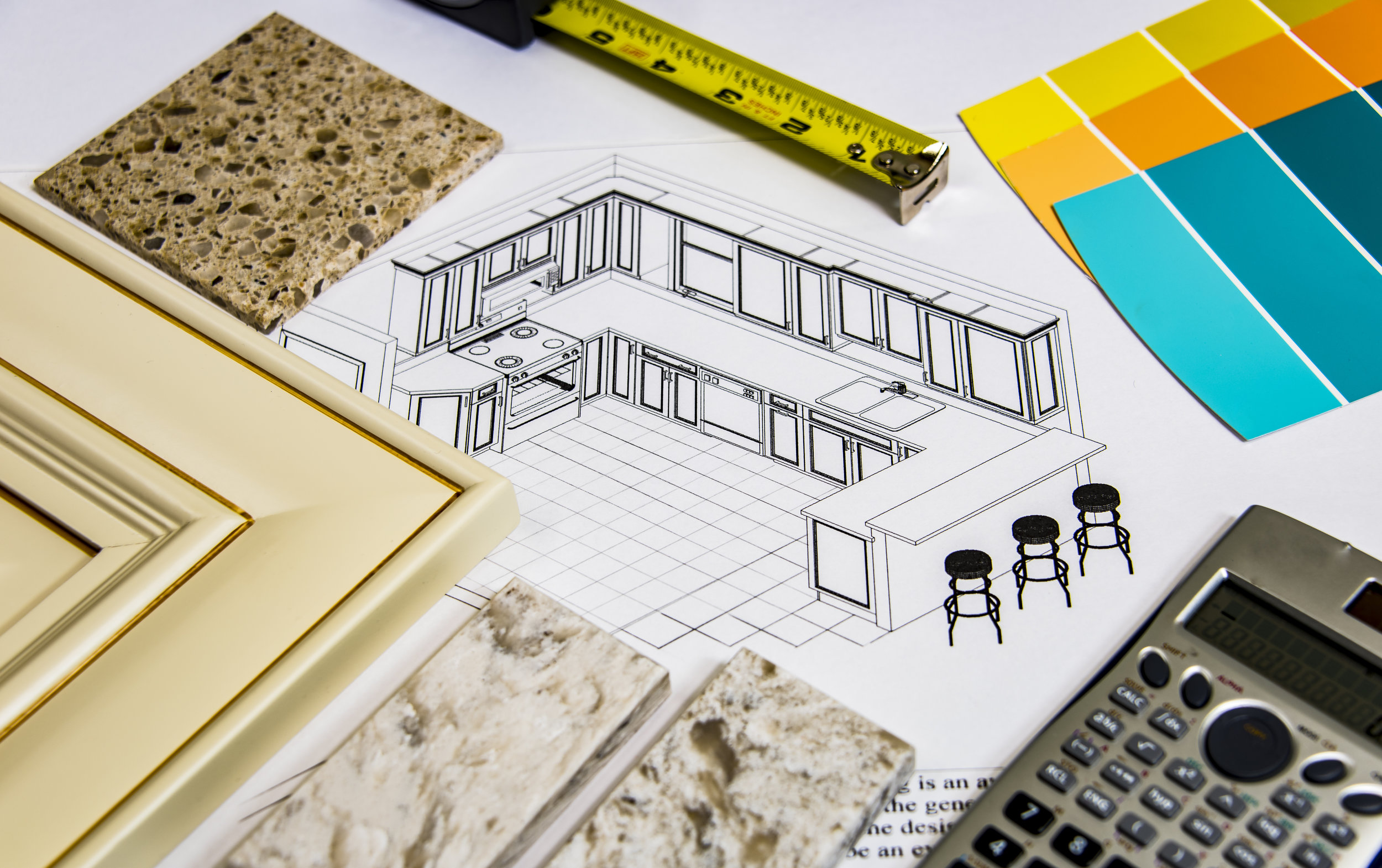 Design - We offer free layouts and customer designs to suit your needs. Not only do we offer layouts, you can see your kitchen before it is ordered! We offer floor plans, perspectives, and elevations. Whether you are on a time constraint or a budget, we offer designs and options to fulfill your needs. See us today!