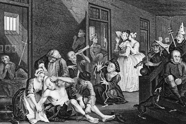 "Bedlam from 'A Rake's Progress' 1733, By William Hogarth - ""Bedlam"" was the byname of Bethlem Royal Hospital due to the noise. Visitors were welcome! For a shilling or two, you could walk through the hospital and gawk at the crazy people."