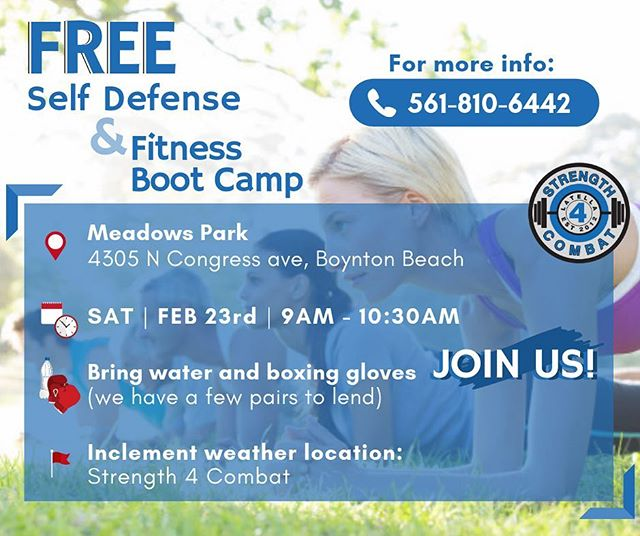 Fresh air, fighting skills, and fitness. Call or message us to sign up- it's FREE 📞561-810-6442 . . .  #Meadowspark #selfdefense #fitness #bootcamp #boynton #boyntonbeach #strength4combat #meadowsparkBoyntonBeach