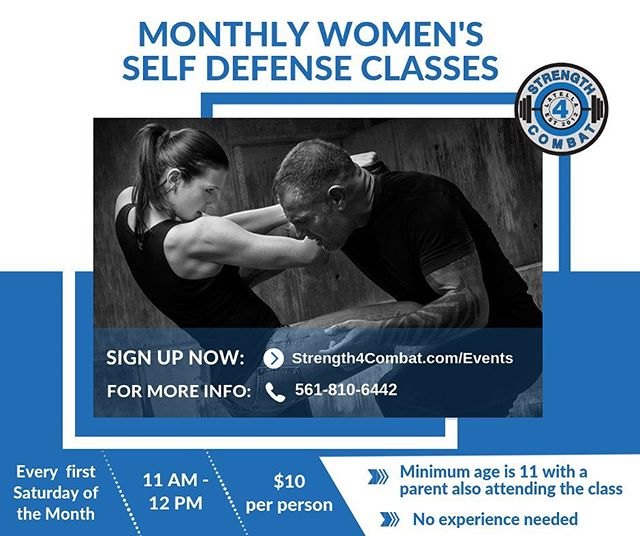 Join us on March 2nd at 11AM - 12PM. This class will repeat on the first Saturday of every month. Visit our website to sign up (link in our bio then click the events tab) Class is limited to 10 women. Call or message us if you have a question . . . . #womensselfdefense #kravmaga #haganah #selfdefense #empowerment #strength4combat #boynton #boyntonbeach