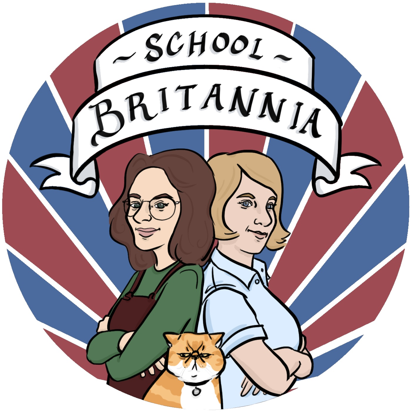 - School BritanniaEleanor and Claire of the podcast School Britannia asked me to make a logo for them (which happened to include Claire's grumpy cat, Gremlin). Check out their podcast here or on your favorite podcast app. Digital.