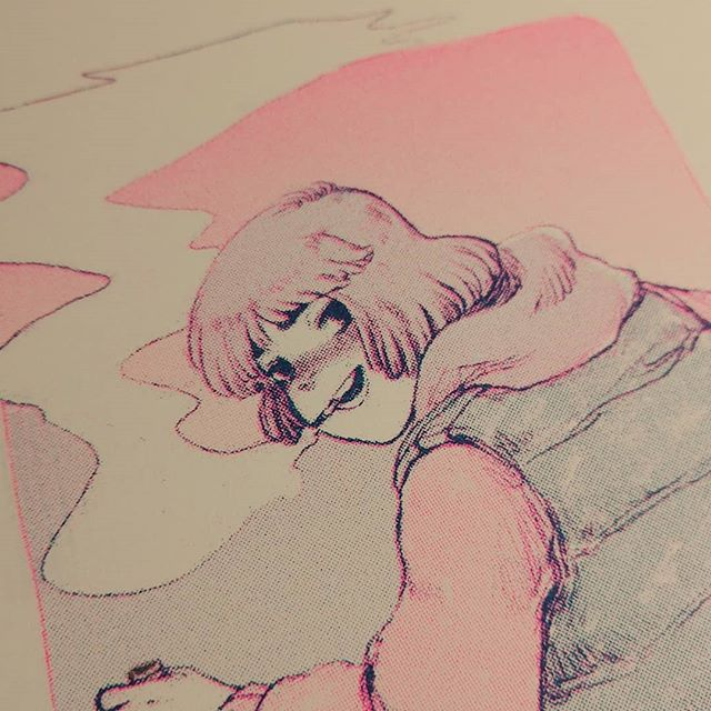 finally printed something decent on my riso.. got a lot to learn lol #risograph #sagafrontier #サガフロ