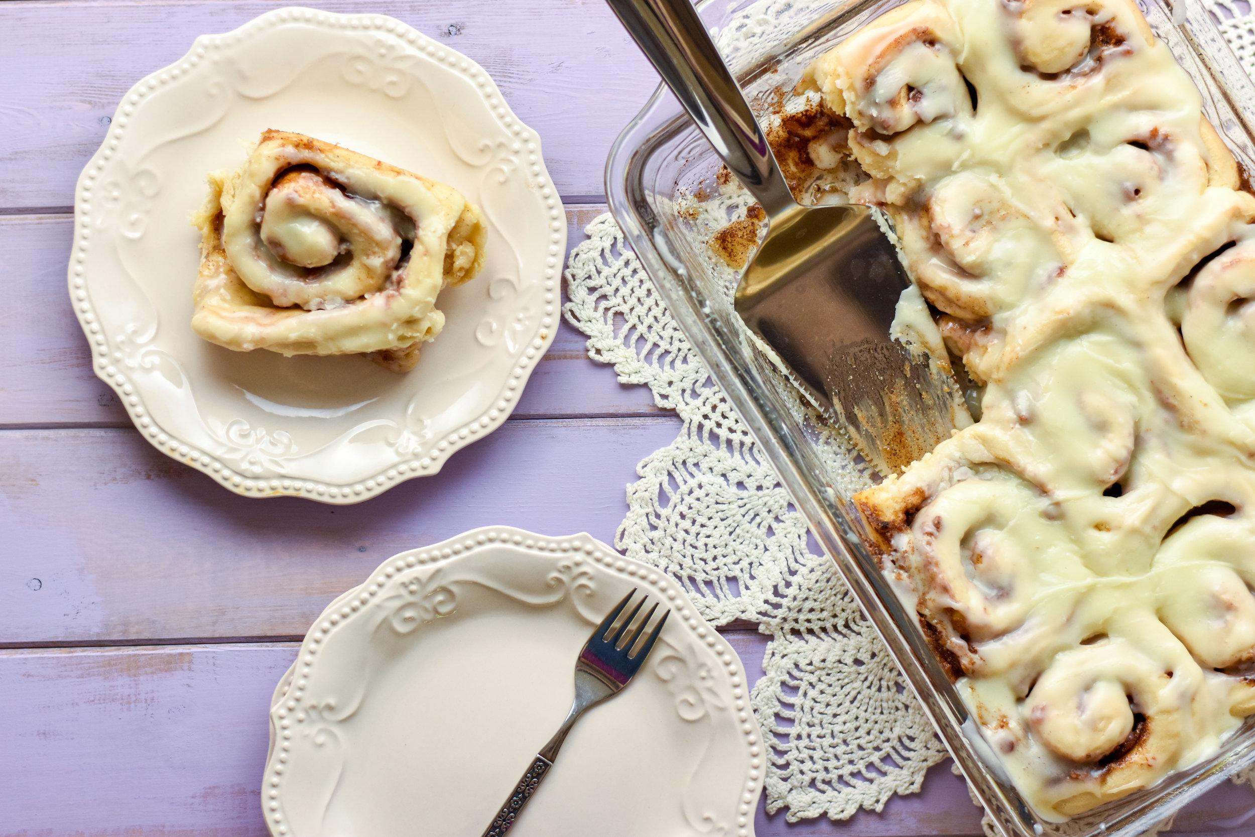 Brown Sugar Bacon Cinnamon Rolls with Maple Icing