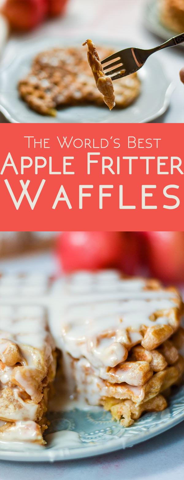 For a new breakfast idea, try the world's best apple fritter waffles! #breakfast #recipes #waffles