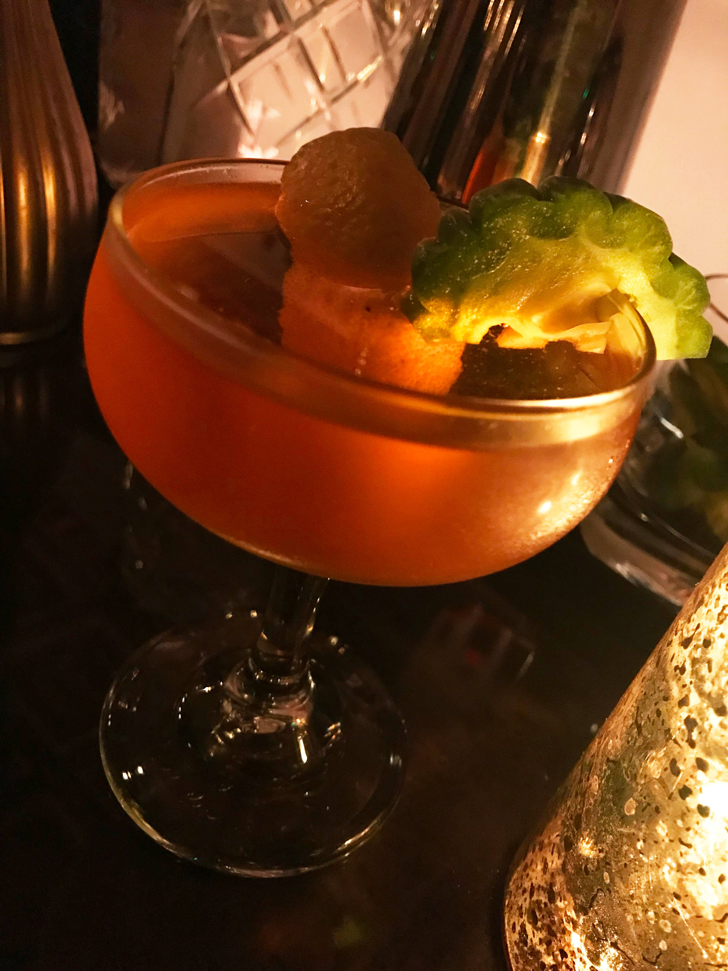 A bitter melon gin cocktail at Genever bar in Los Angeles' Historic Filipinotown. Photo by Paola Mardo.