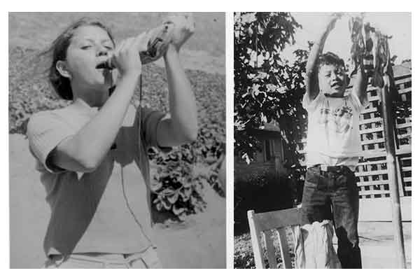 L to R: Carlene Sobrino Bonnivier takes a break from trying to pick strawberries in Salinas, California circa 1970s; Gregory Villanueva, age 8, hangs his hand-washed socks on the line in the backyard of his family's home. His family had just moved from the Temple-Beaudry area in Historic Filipinotown to El Sereno in East Los Angeles.