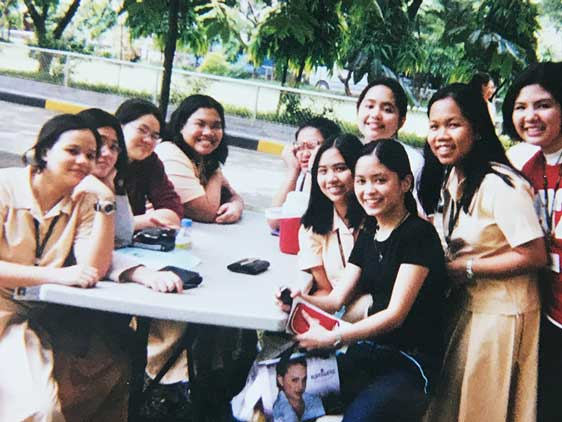 Host/producer Paola Mardo (in the black shirt) pictured with her school friends shortly before moving from Manila, Philippines to San Ramon, California in 2003. Pia Ilagan Lingasin (4th from left) moved a year later to Cerritos, California.