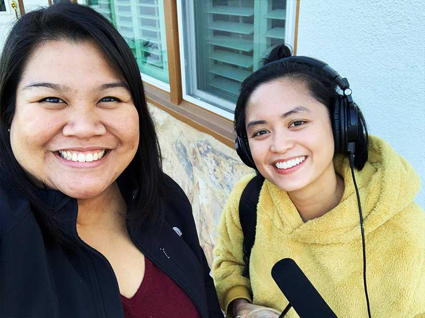 Pia Ilagan Lingasin with host/producer Paola Mardo in Cerritos, California in 2018.