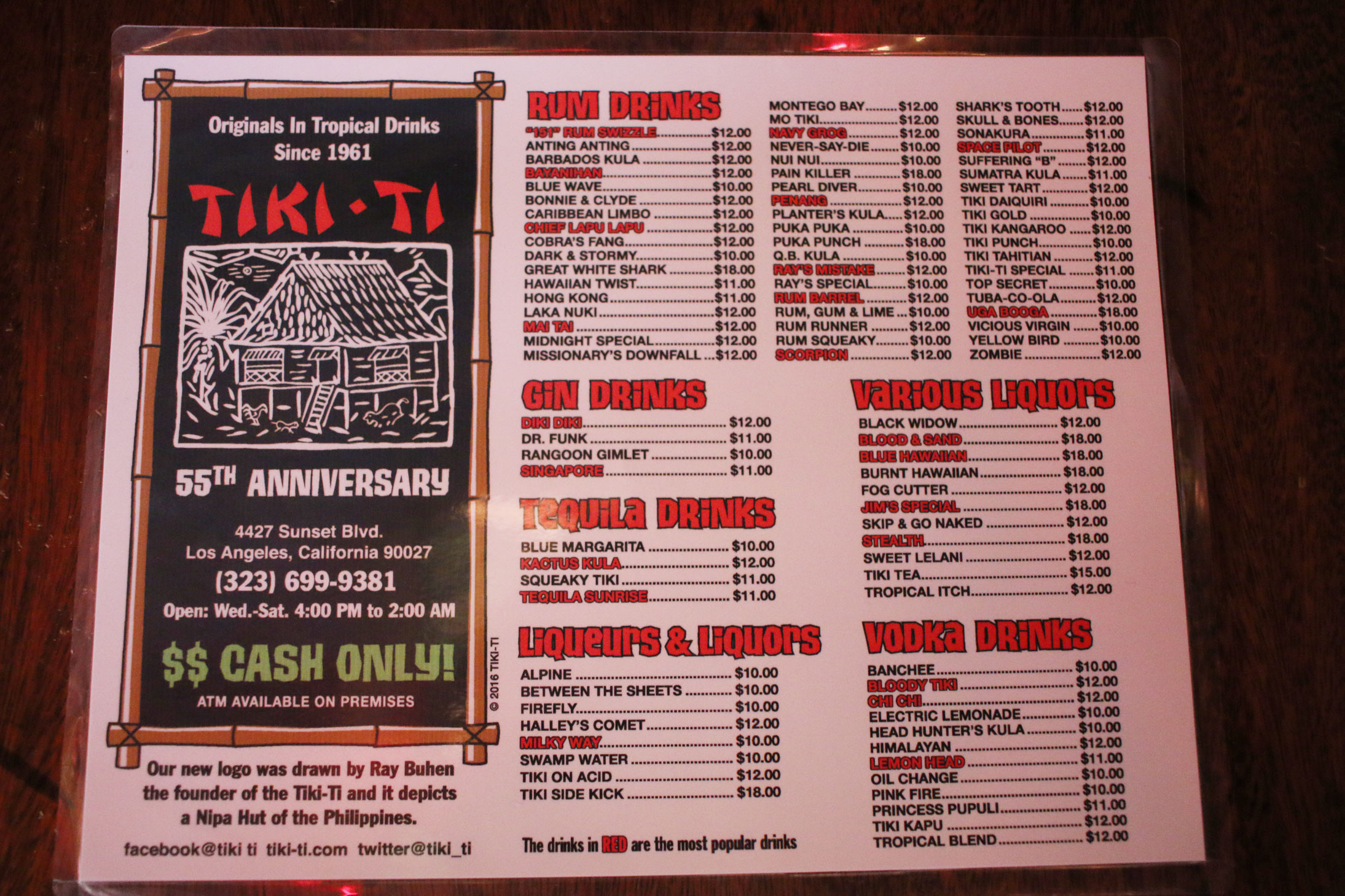 Menu at the Tiki Ti. Photo by Patrick Epino.