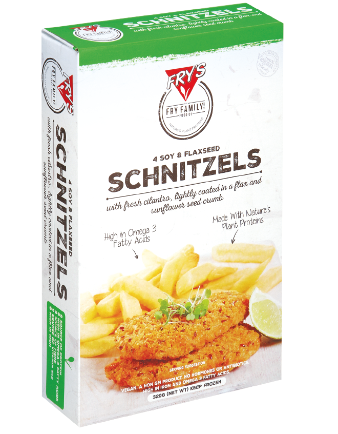 Fry's Schnitzels - Our Schnitzels work great by themselves on a piece of bread for a bbq, or can be a part of a larger dish such as a parma or schnitzel roll.$0.66 per serve.Sold per box of 40 serves.