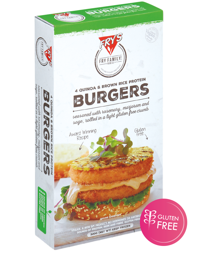 Fry's Burgers (Gluten Free) - Great for any BBQ or burger, these patties are also Gluten Free!$0.76 per serve.Sold per box of 24 serves.
