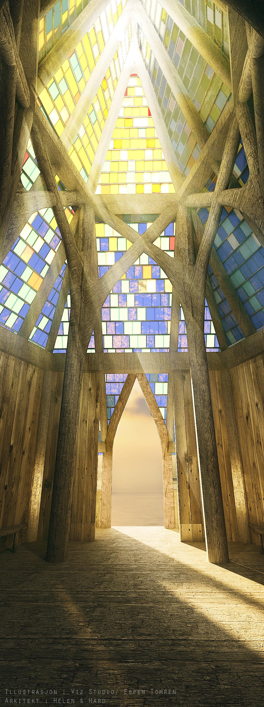 Katedralen, innvendig Illustrasjon av Helen & Hard