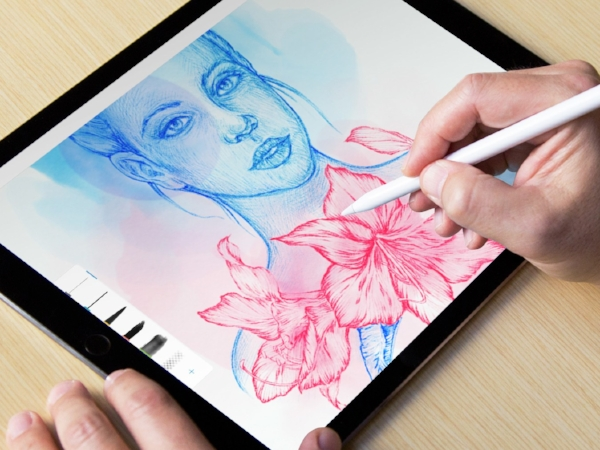 Apple iPad Pro with Pencil and Procreate app