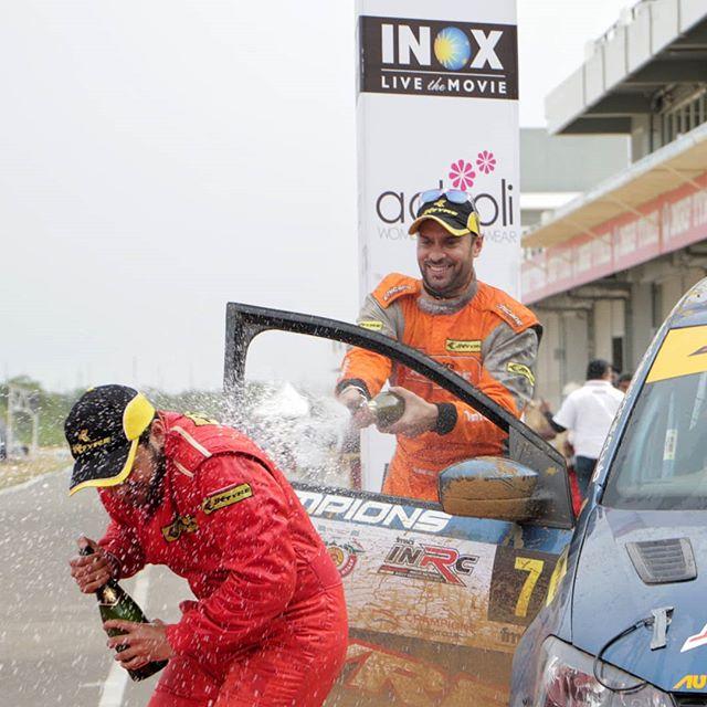 Gaurav Gill celebrating his win with Dean Mascarenhas. @inrc.india @jktyre_motorsport @fmsciofficial @mahindraadventure
