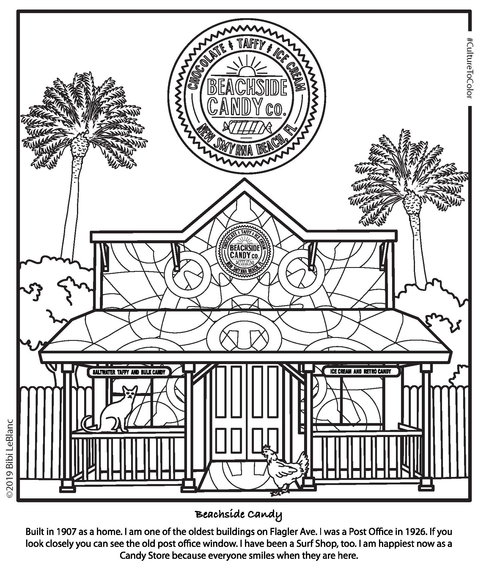 Take a look at this example of a custom design. - The owners at Beachside Candy ordered this custom coloring page to distribute to their own friends and customers.