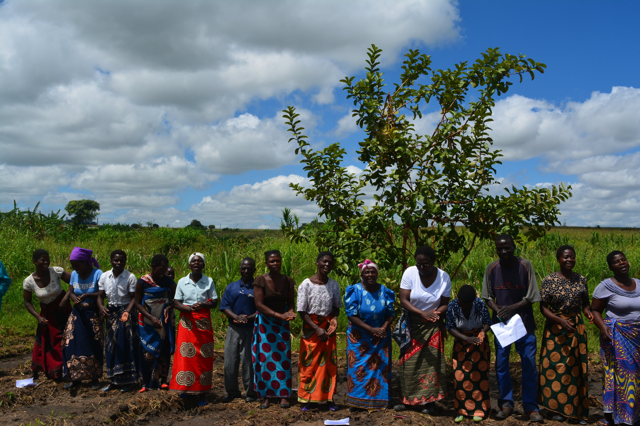 Members of the Mawandiwe Agriculture Club at a training session led by Professor Banda, Field Coordinator
