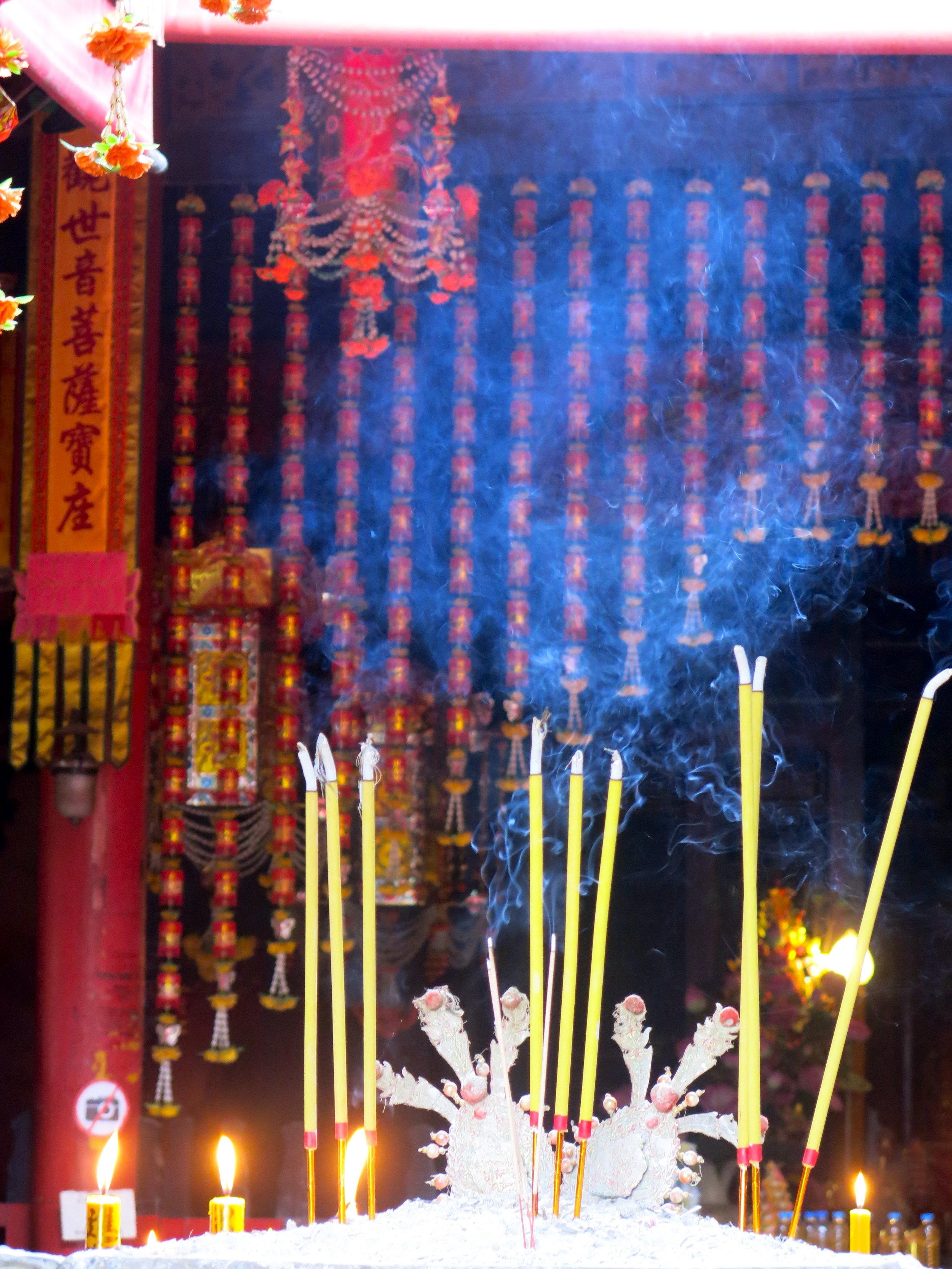 Burning incense sticks