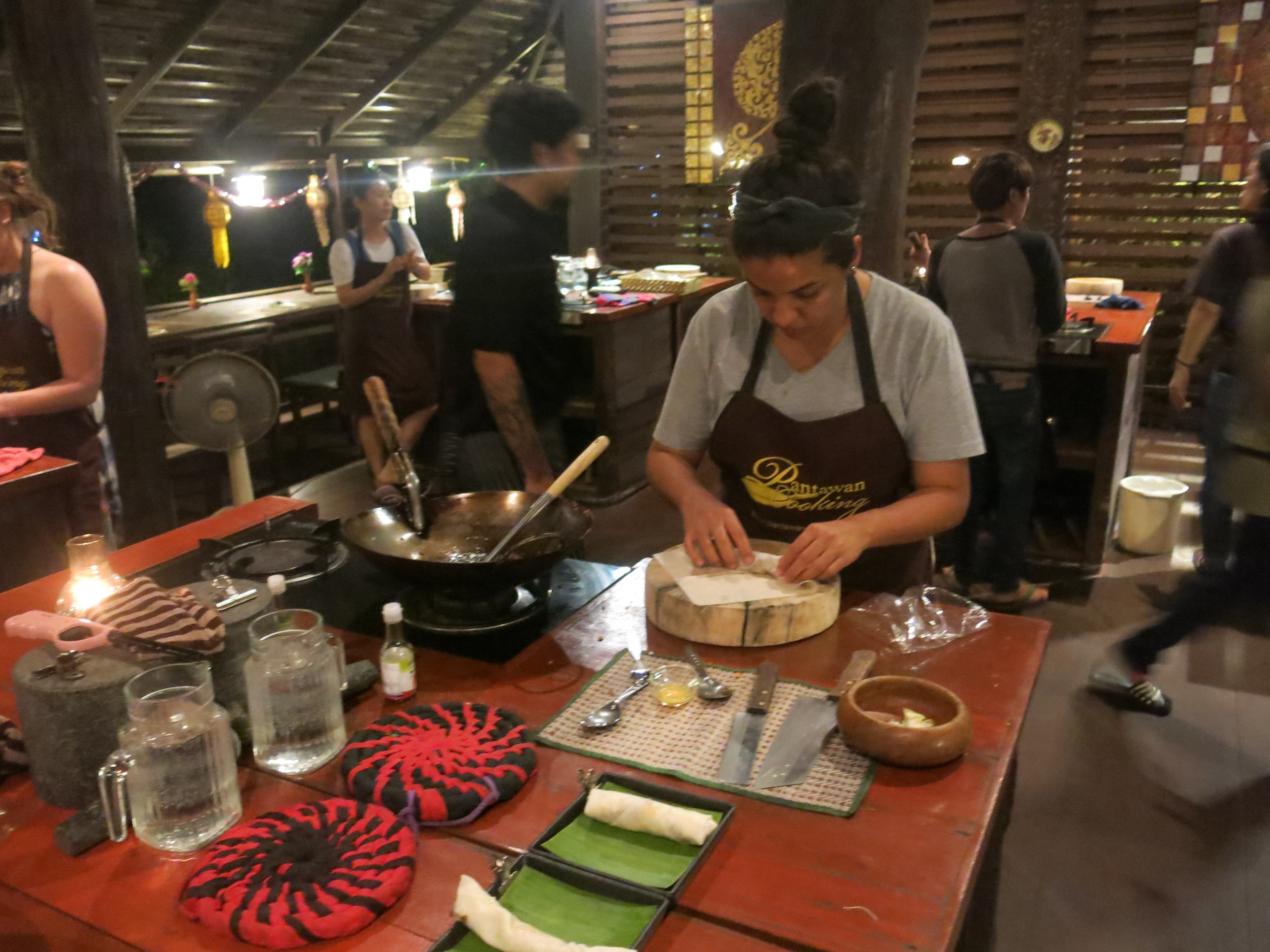 Learning classic dishes at cosy Pantanwan Cooking Class
