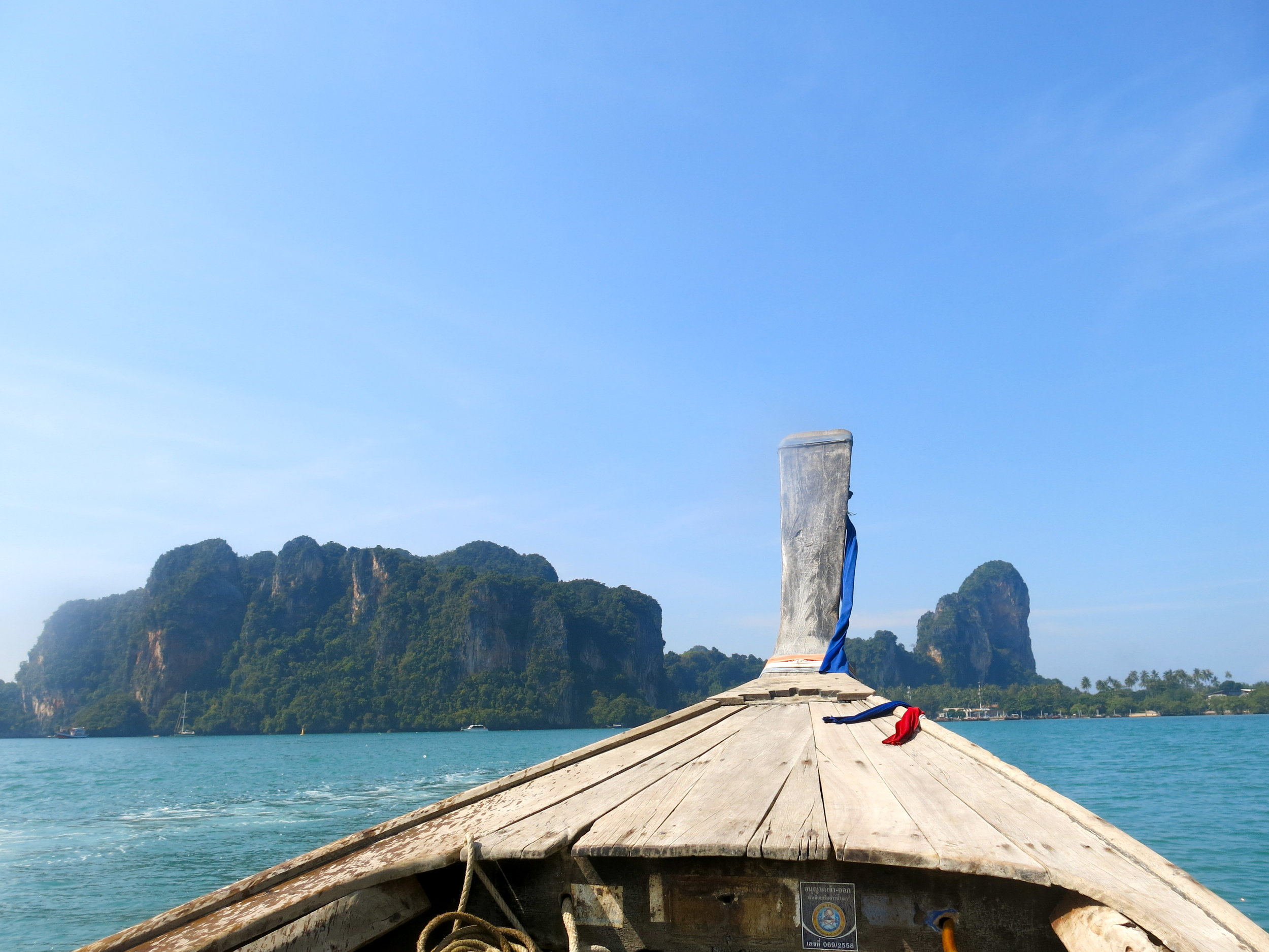 View on Railay peninsula from a long-tail boat