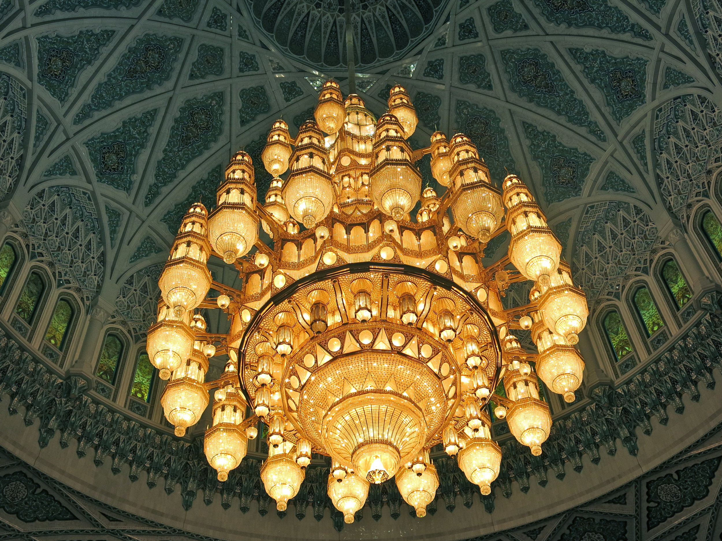 The crystal Swarovski chandelier is one of the largest in the world