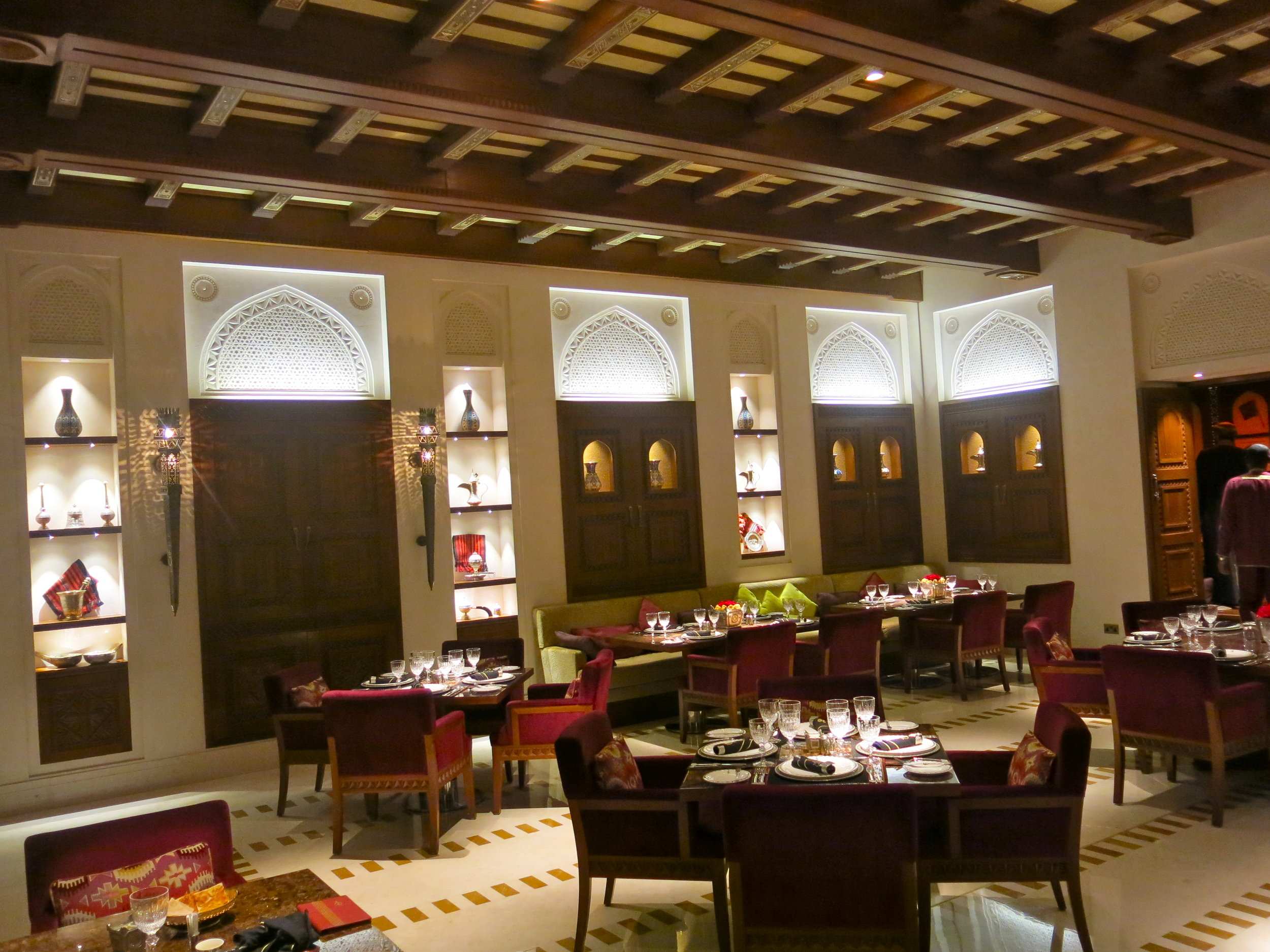 The refined traditional interior of Al-Angham restaurant