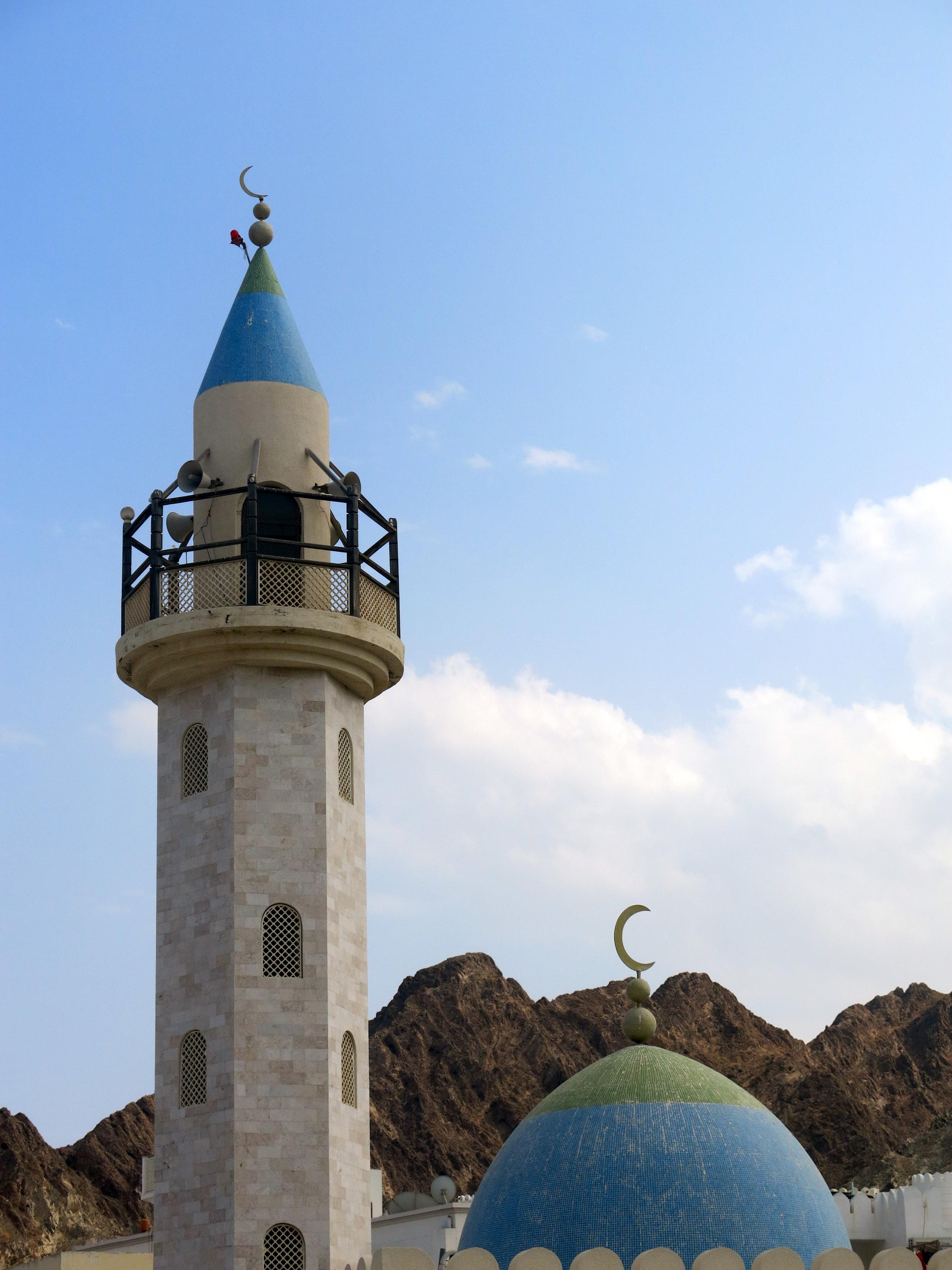 The minaret of a mosque near the Muttrah corniche