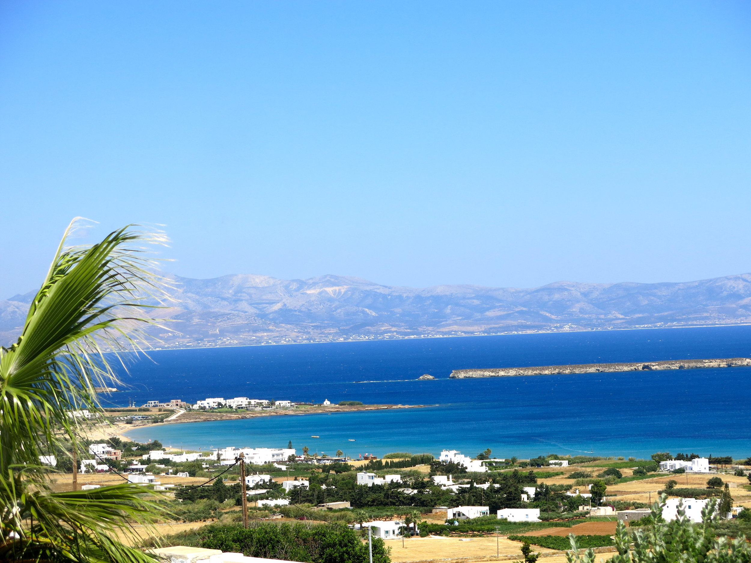 View on the bay of Golden Beach and Naxos island from our hotel in Dryos