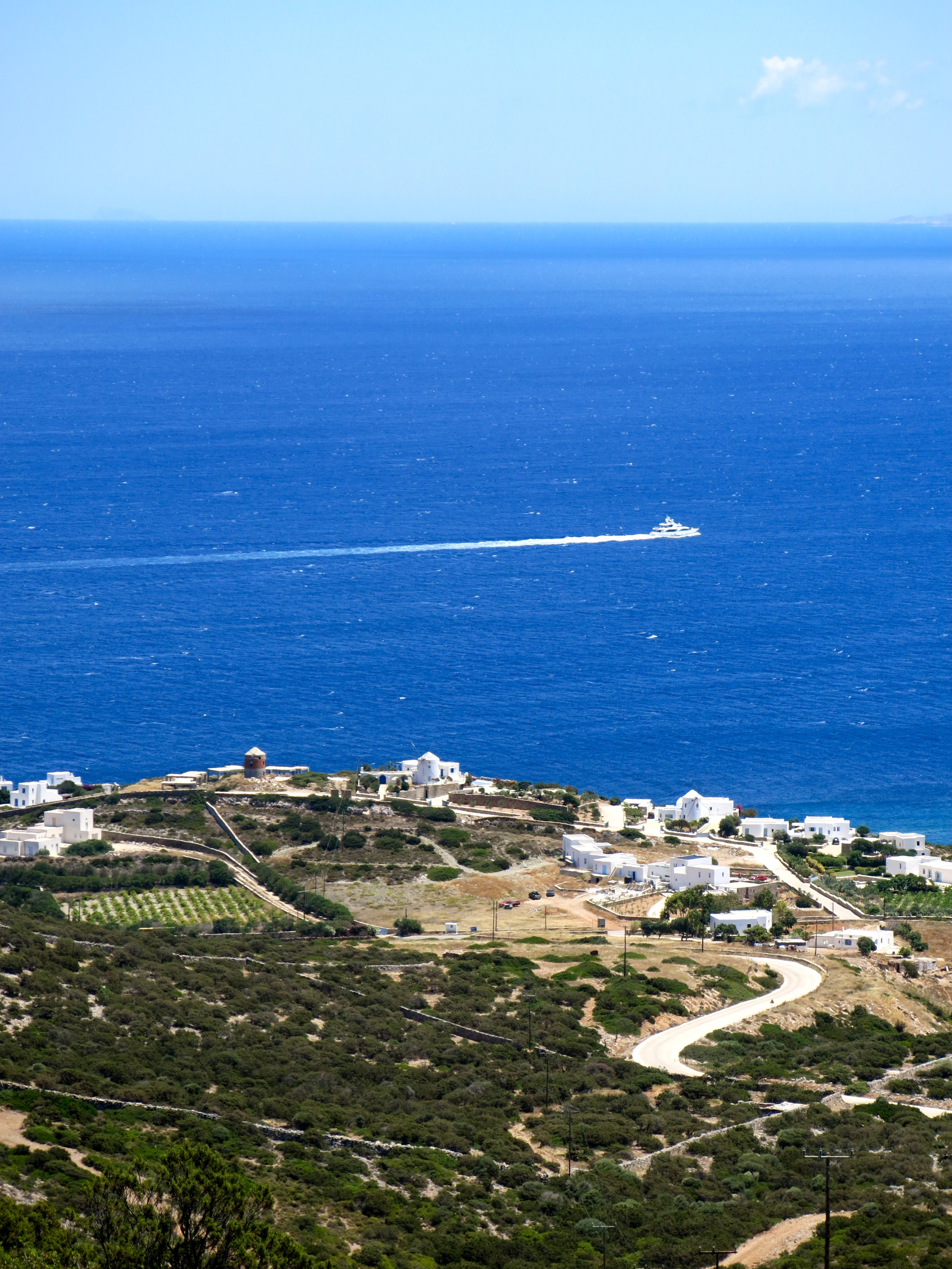 Scattered villas along the quiet coastline of Antiparos