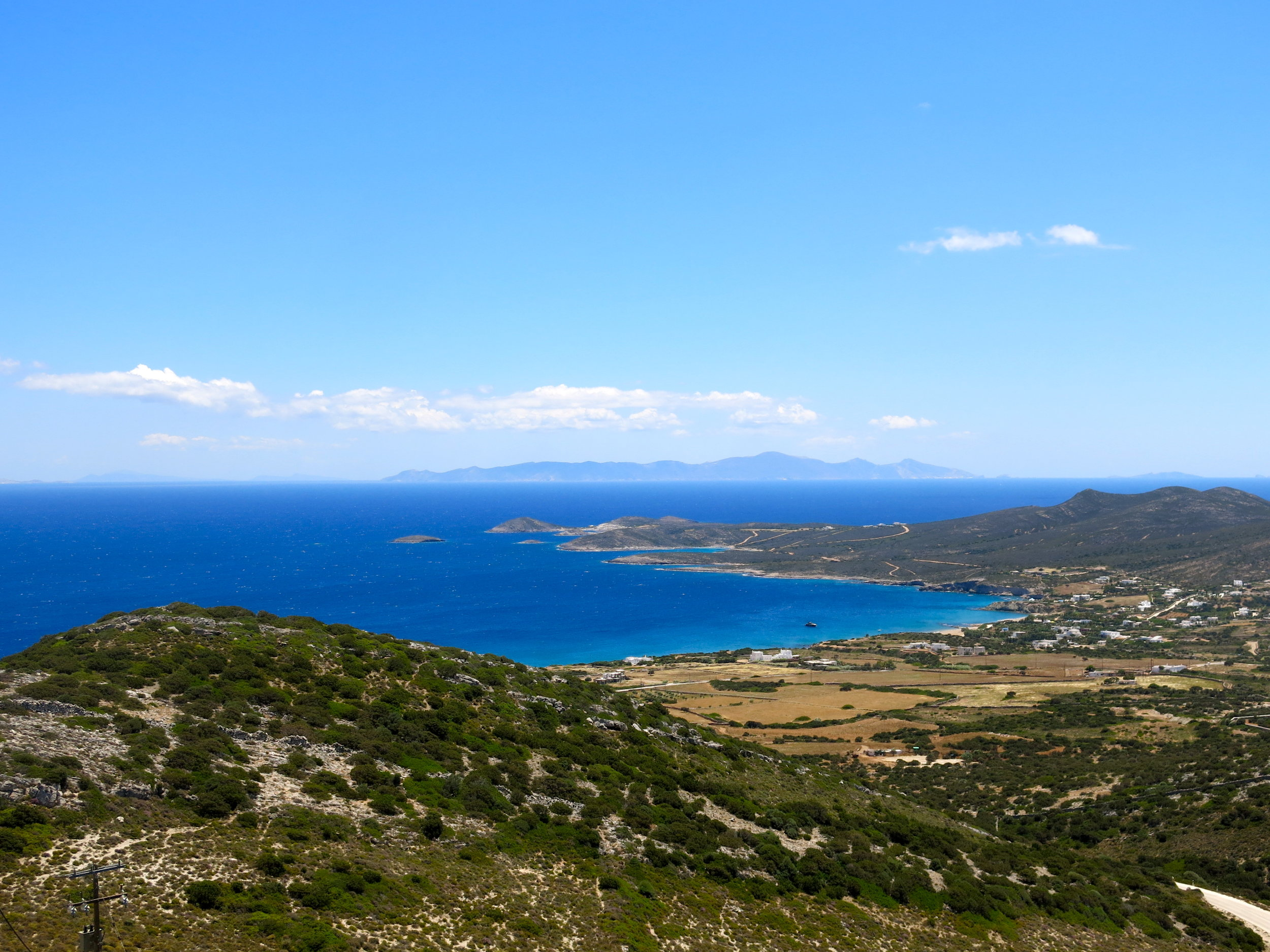 View of Antiparos from the entrance of the Caves