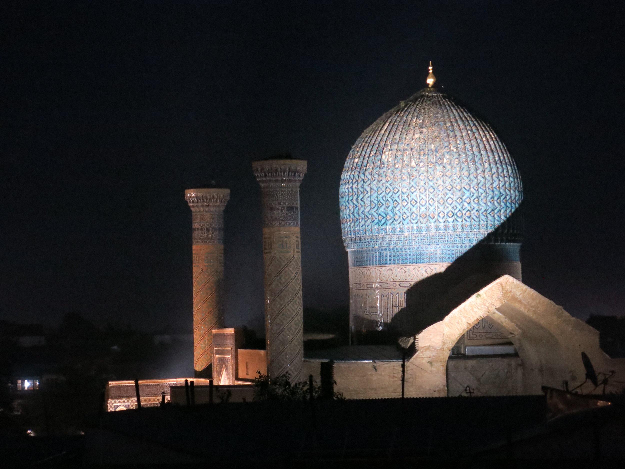 View on Gur Emir mausoleum from the Argamak hotel at night