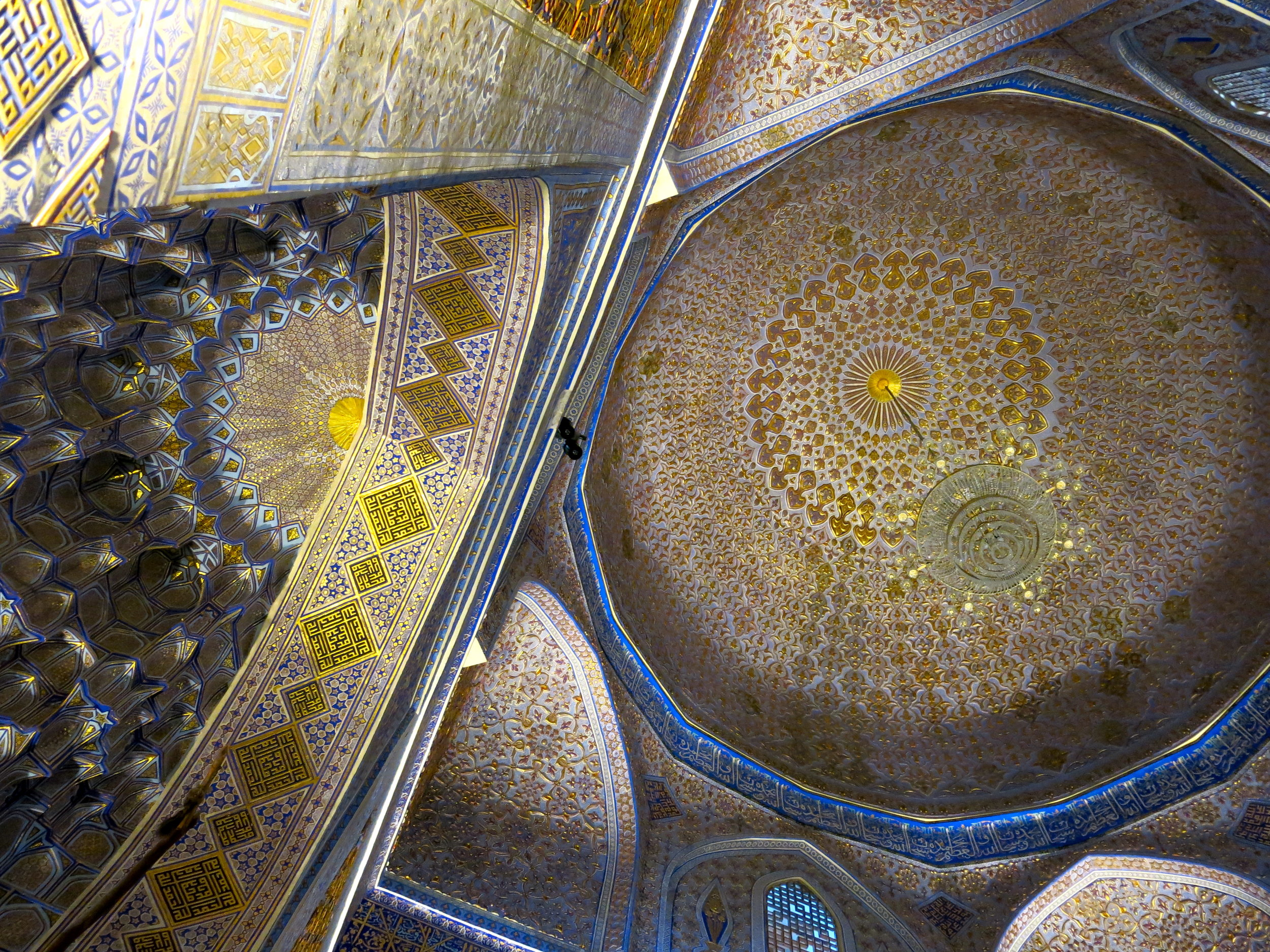 The richly decorated ceiling of the Gur-Emir mausoleum