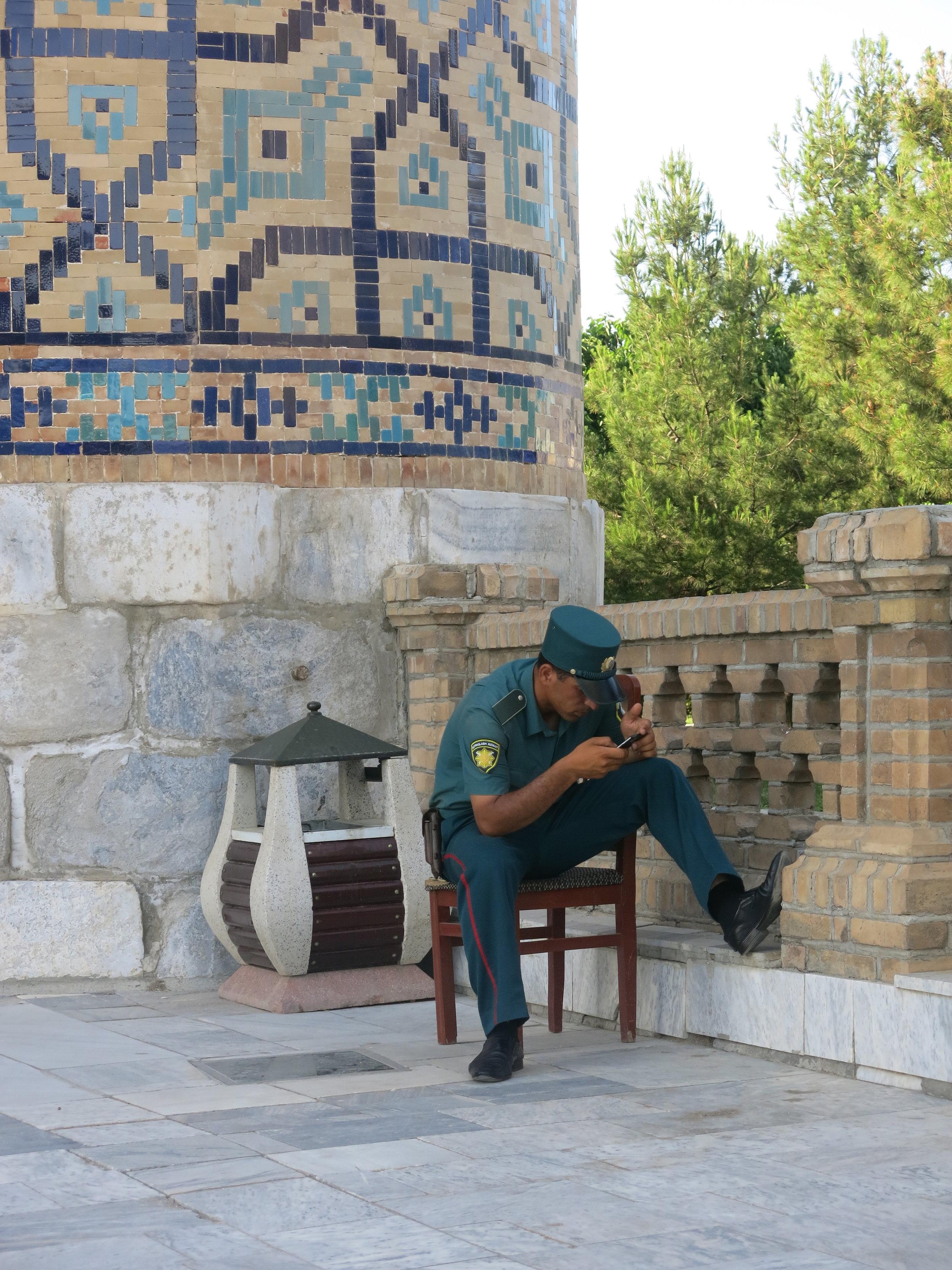 Uzbek policeman on duty at the Registan square