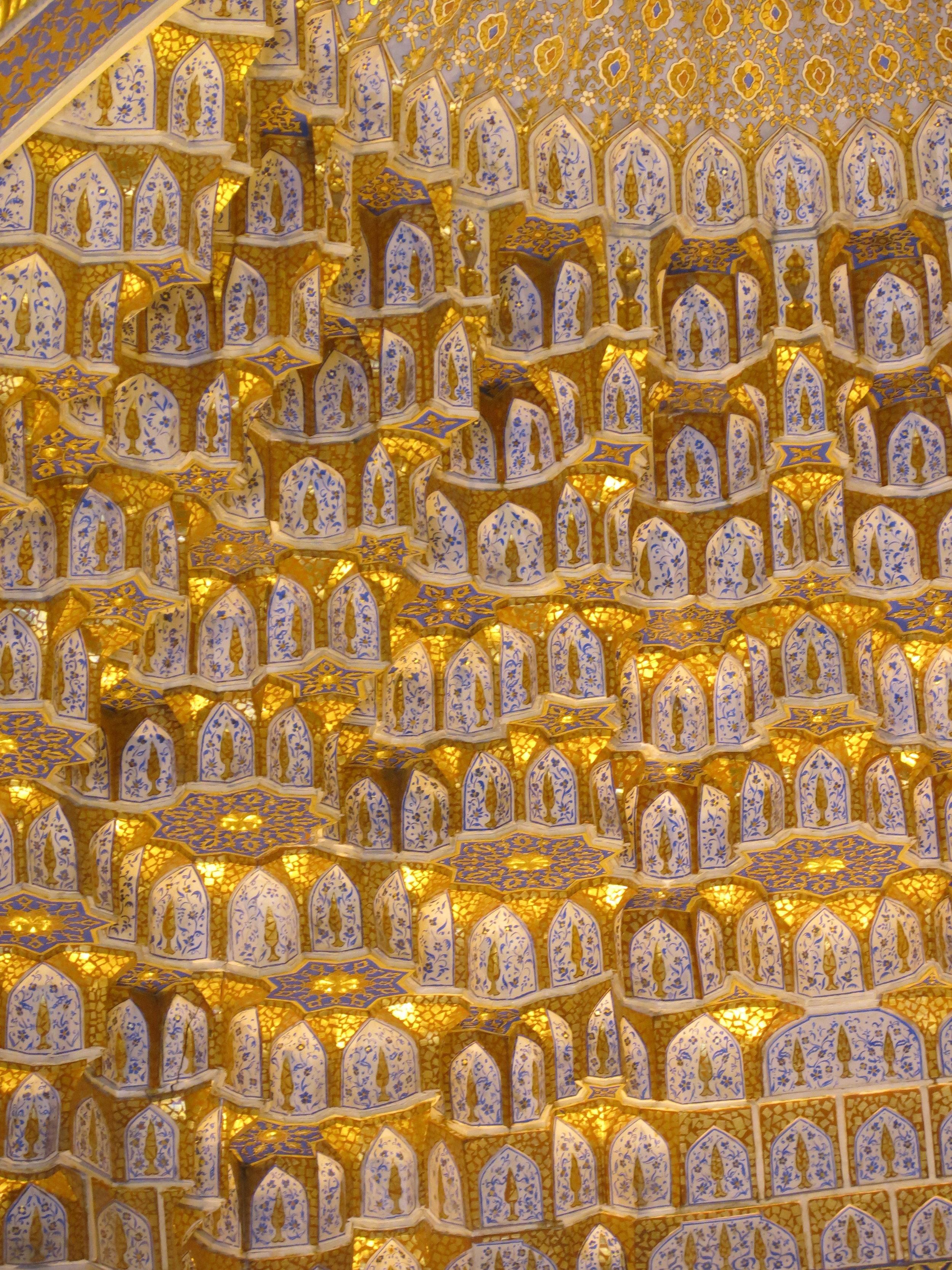 Golden ornamented vaulting called muqarnas