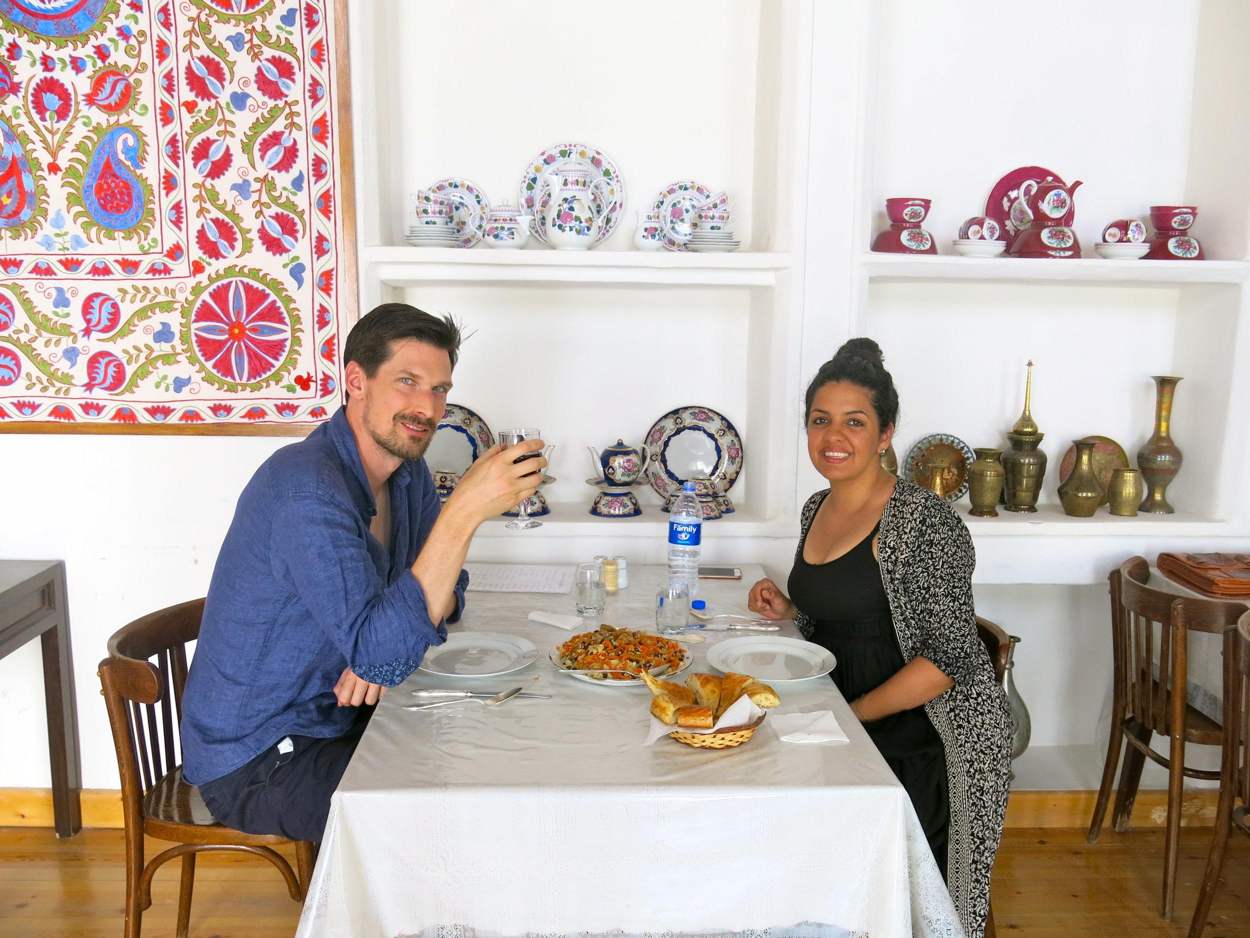 Enjoying homemade Plov in a family-owned restaurant