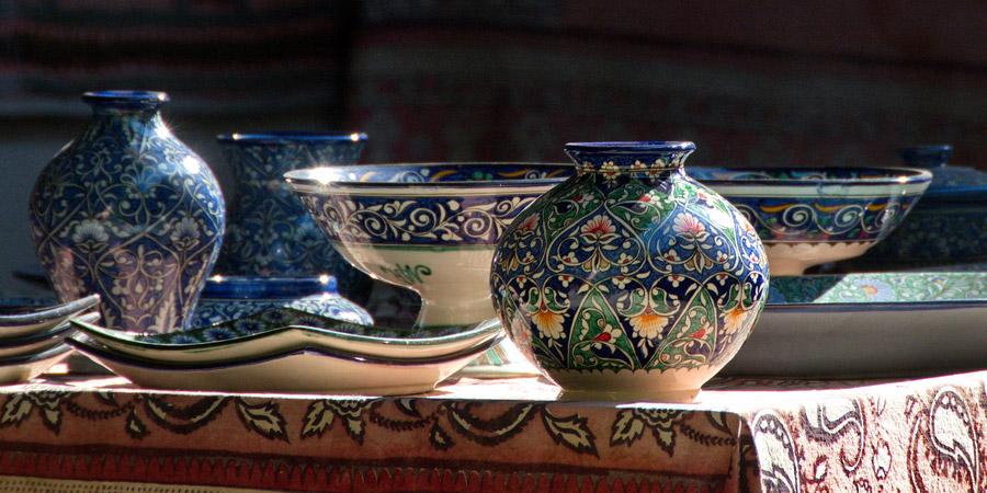 Beautiful colorful ceramics from Rishtan