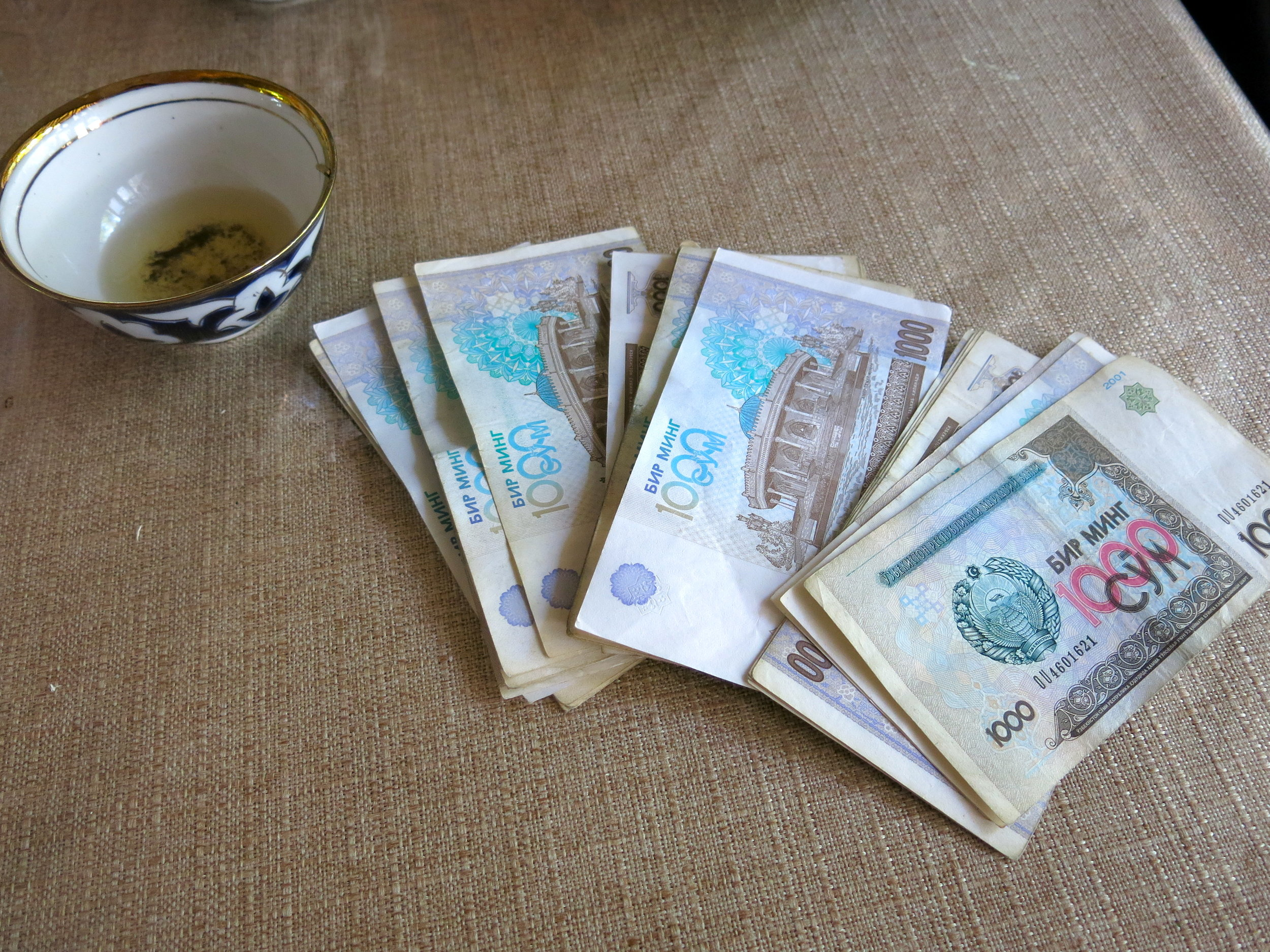 Paying a lunch in Uzbekistan can cost you thousands….of Sums