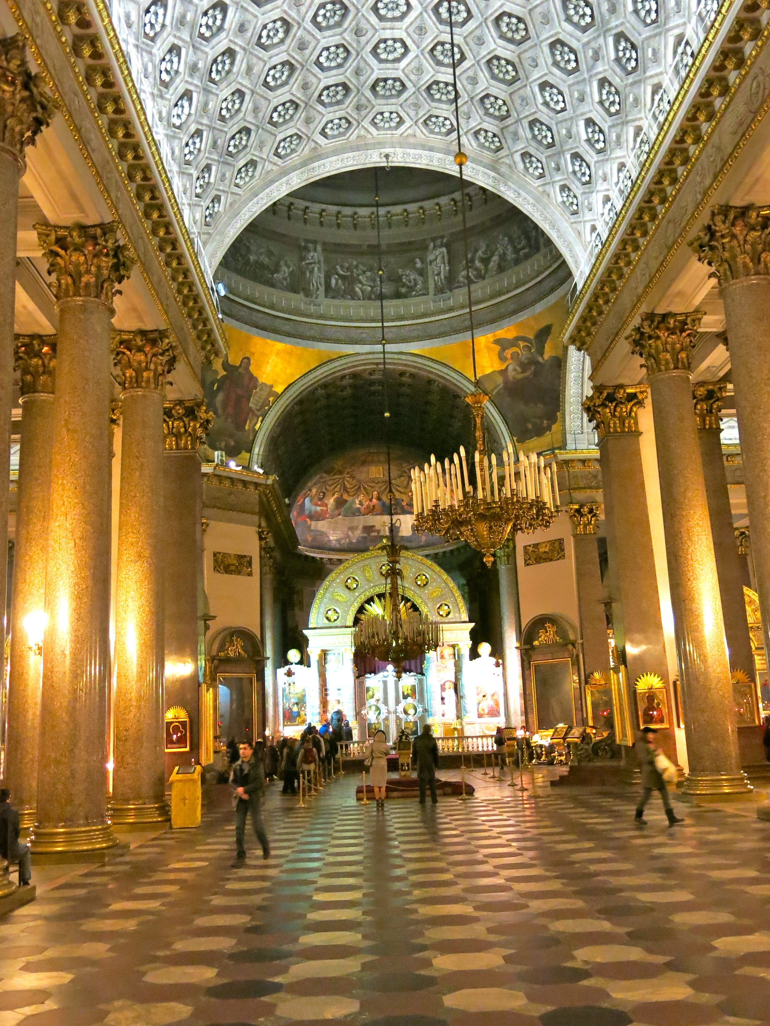 Inside the cathedral inspired by Saint-Peter in the Vatican (Rome)