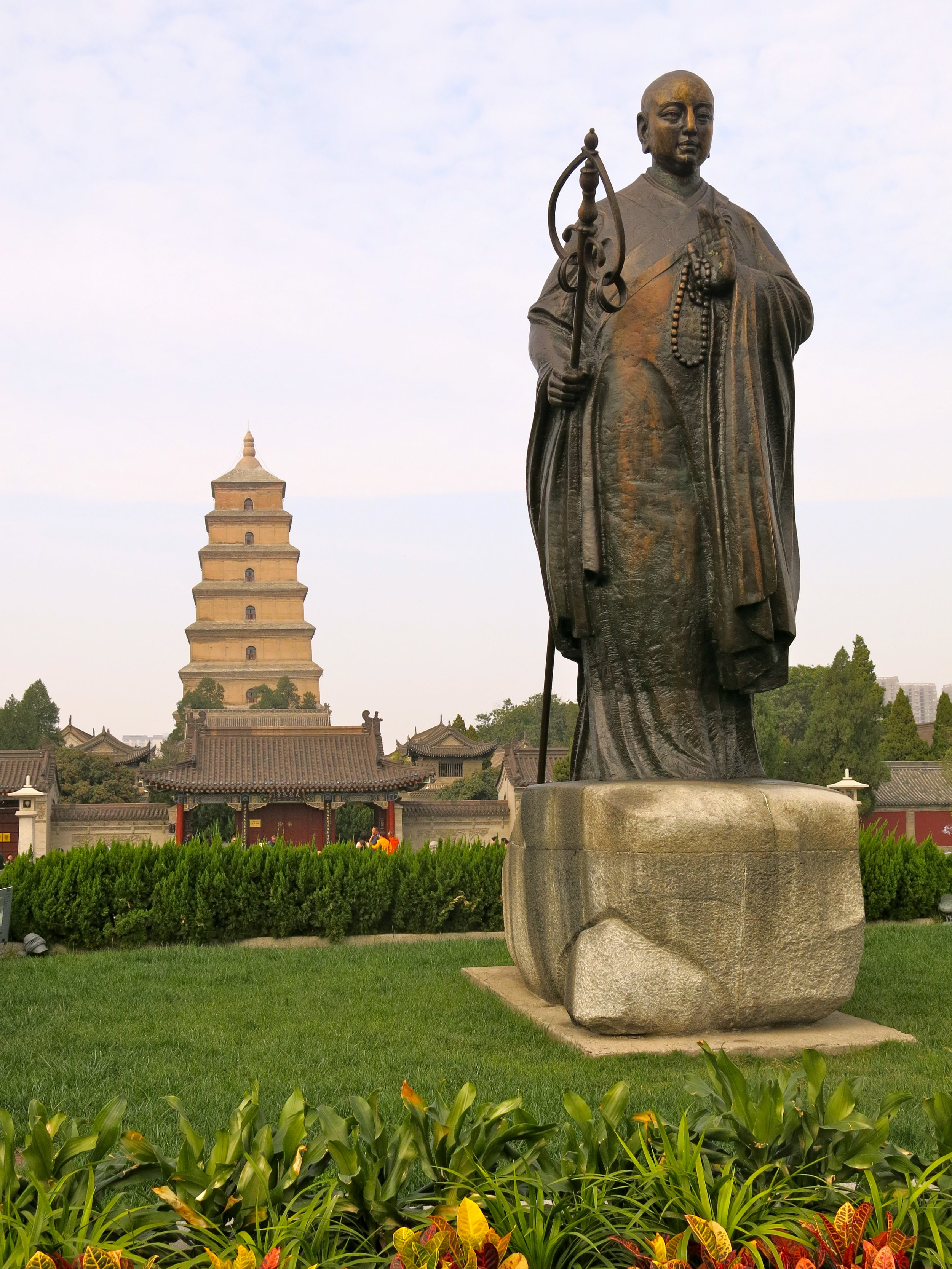 The Wild Goose Pagoda with the statue of monk Xuanzang