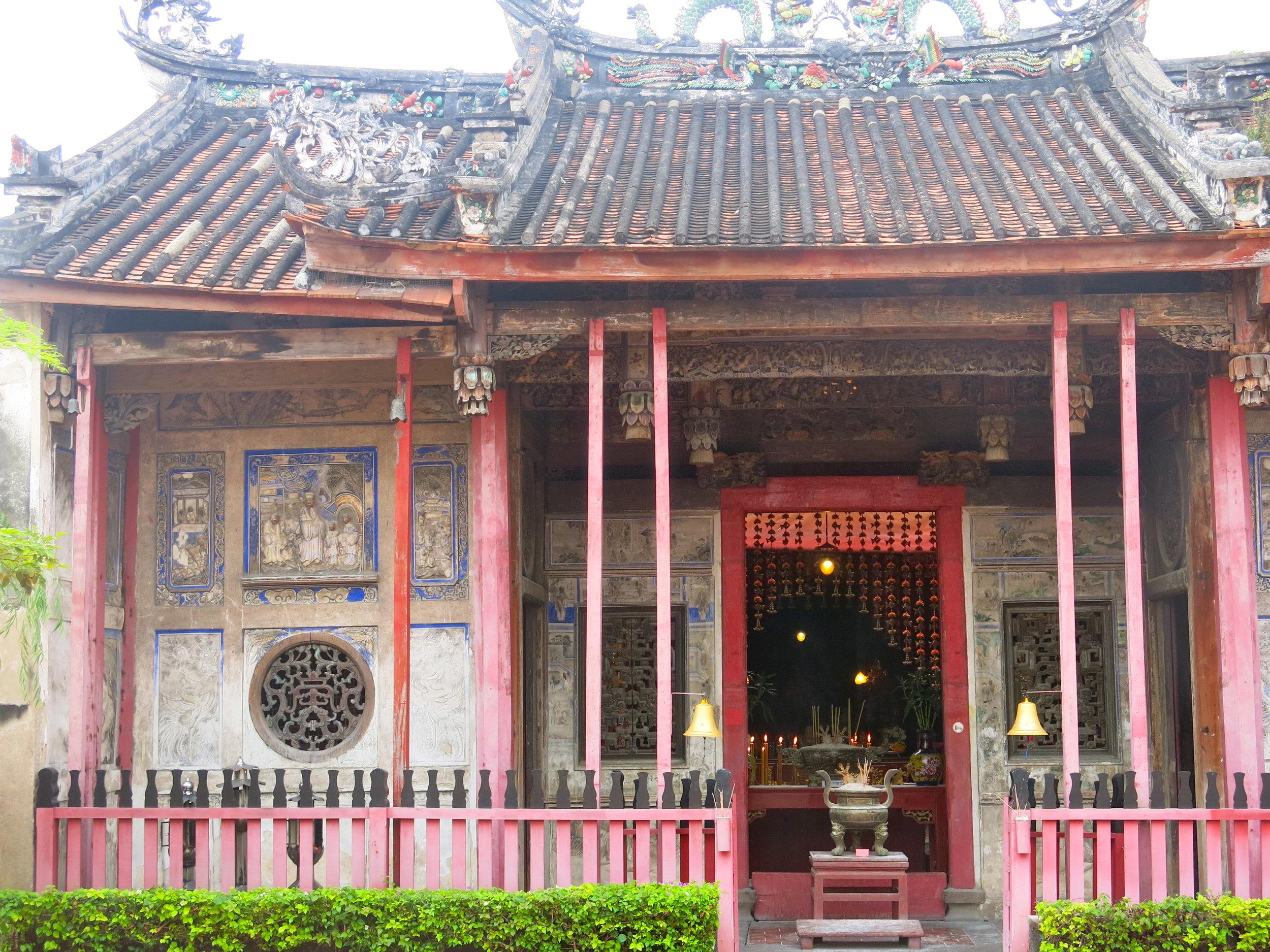 The atmospheric Kuan Yin shrine made of teak wood